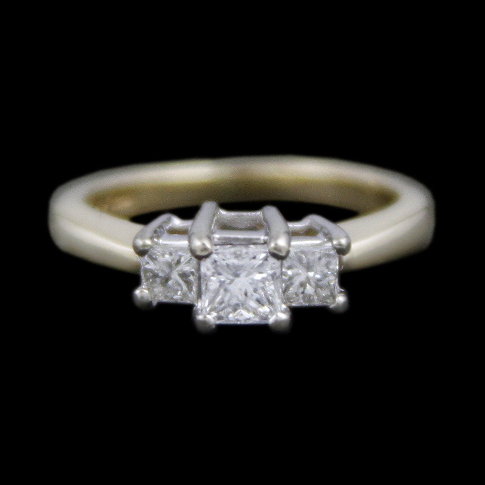 DeBeers Style Ring with .50cttw Princess Cut Diamonds Crafted in 14k Yellow Gold