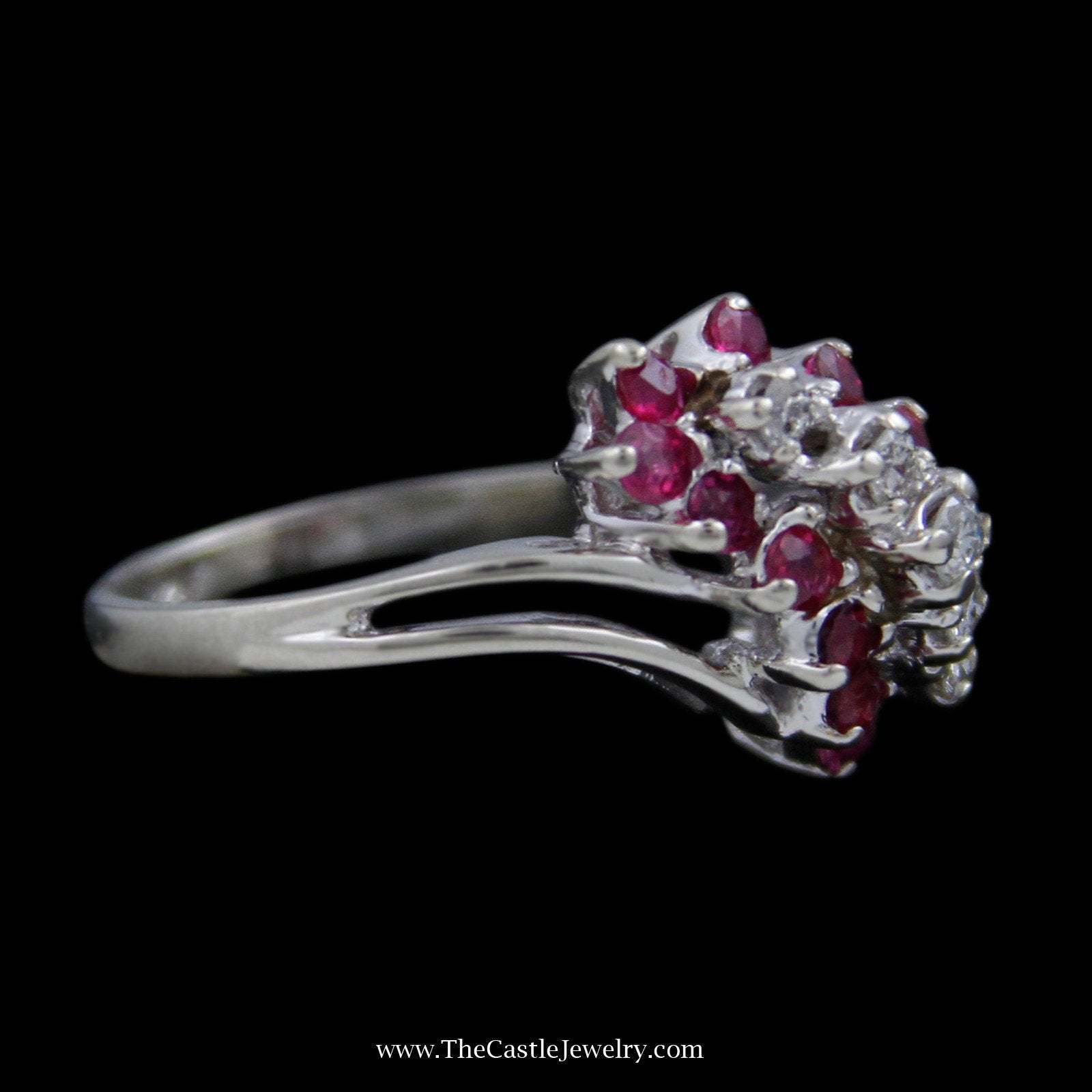 Round Ruby & Diamond Waterfall Ring with Split Design Shank-2