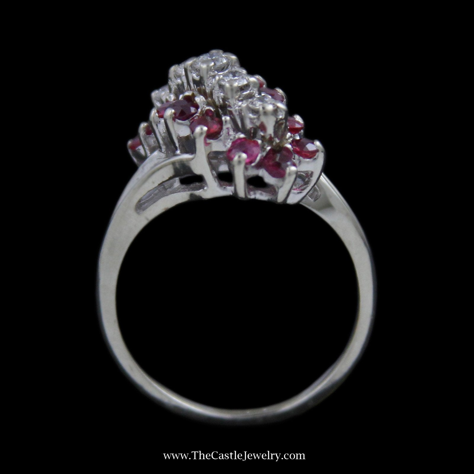 Round Ruby & Diamond Waterfall Ring with Split Design Shank-1