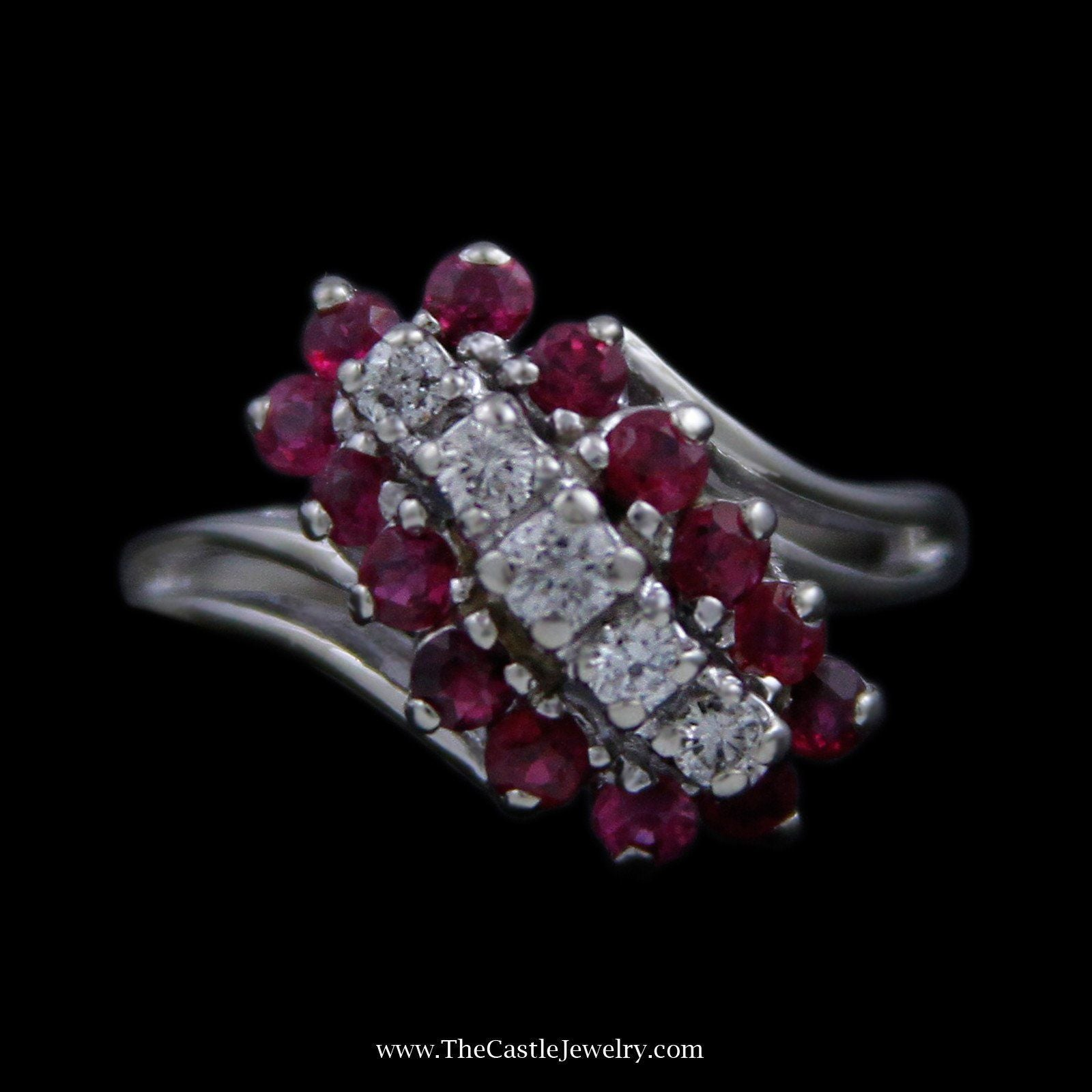 Round Ruby & Diamond Waterfall Ring with Split Design Shank