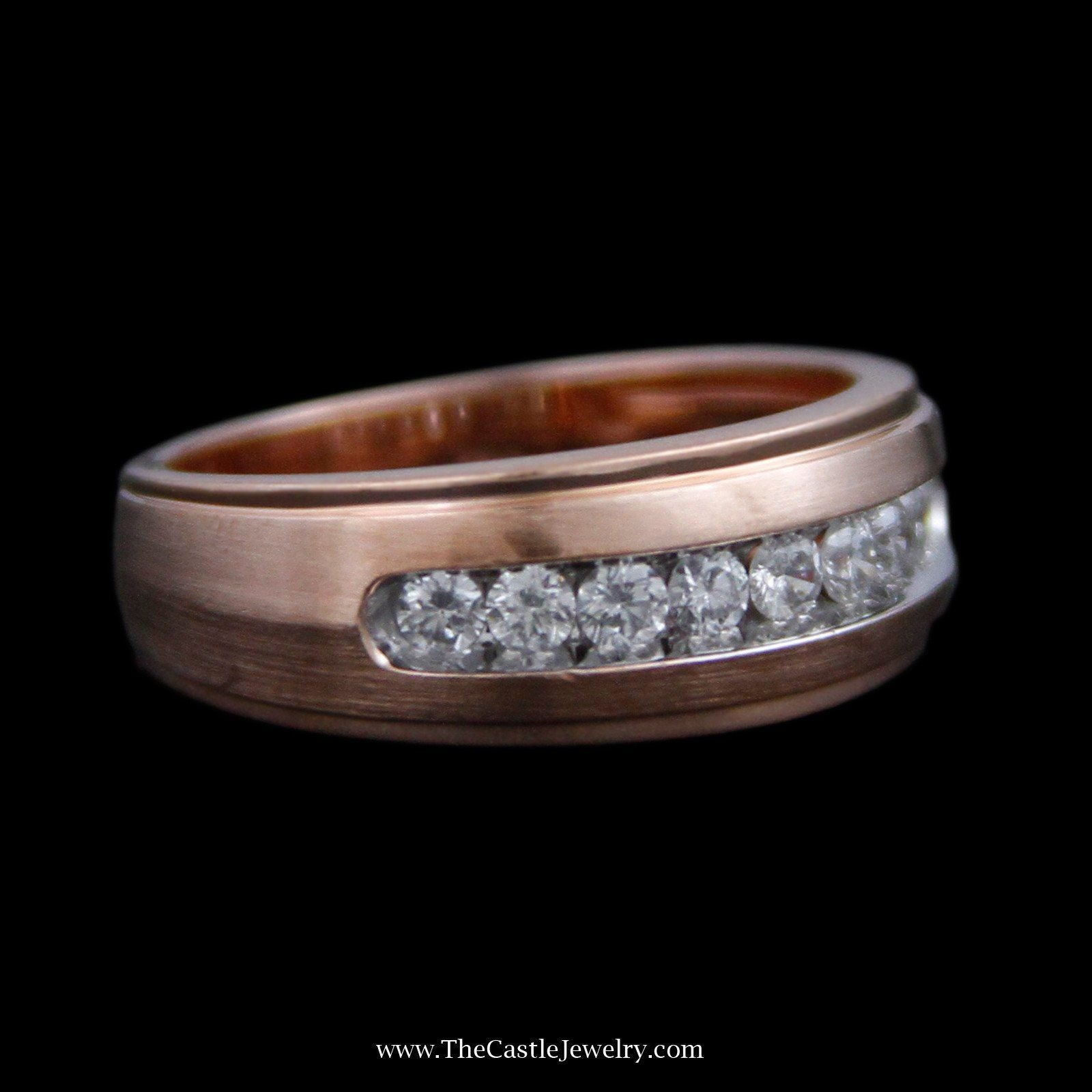 Channel Set Diamond Wedding Band w/ Ridged edges & Brushed Sides in Rose Gold-2