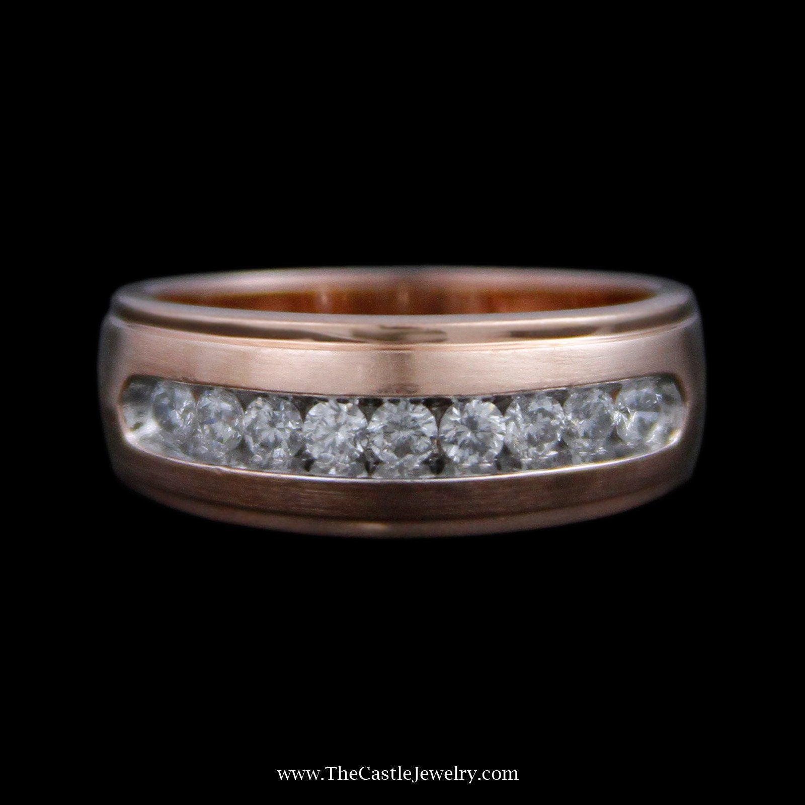 Channel Set Diamond Wedding Band w/ Ridged edges & Brushed Sides in Rose Gold