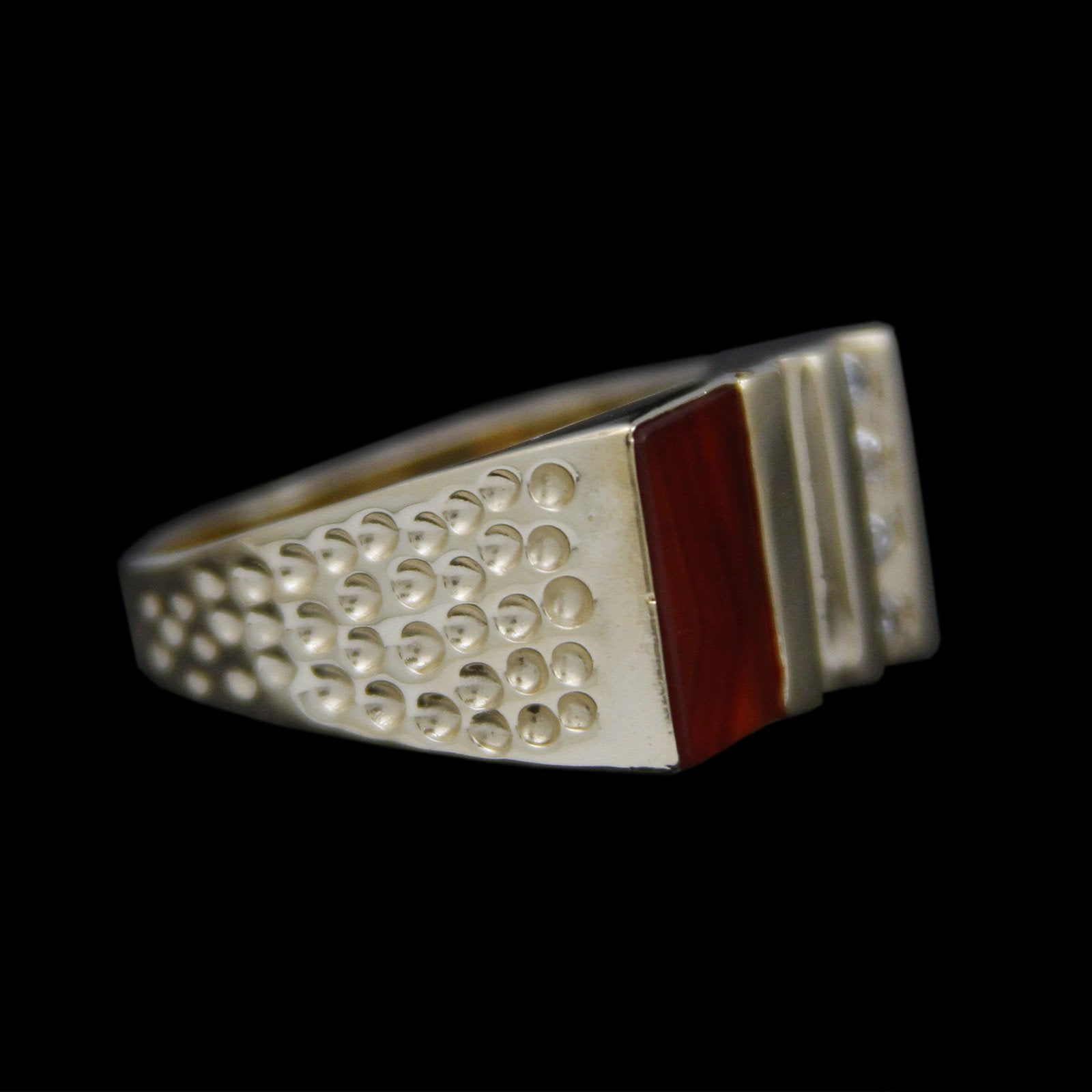 Gents Square Flat Set Sardonyx with Channel Set Diamonds & Dimpled Sides in 14K Yellow Gold-2