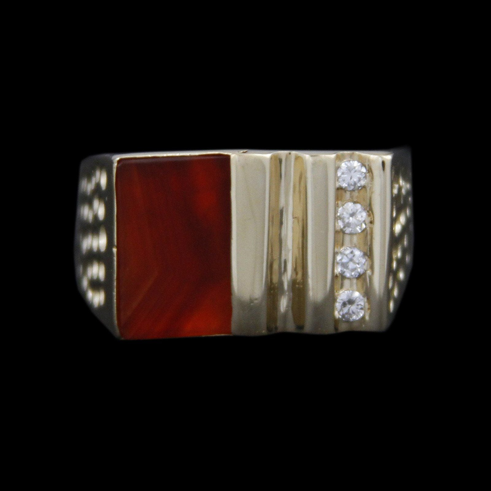 Gents Square Flat Set Sardonyx with Channel Set Diamonds & Dimpled Sides in 14K Yellow Gold