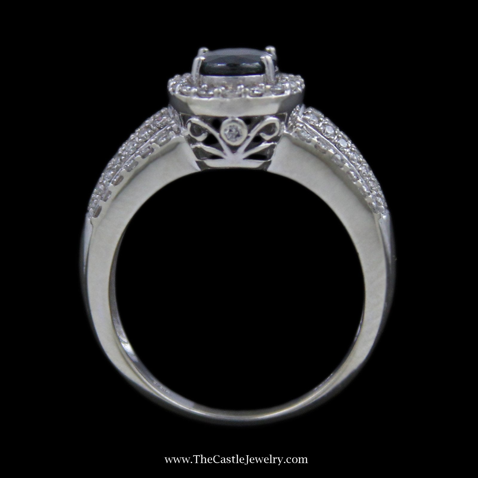 Oval Sapphire Ring, Round Brilliant Cut Diamond Bezel & Sides in 14K White Gold-1