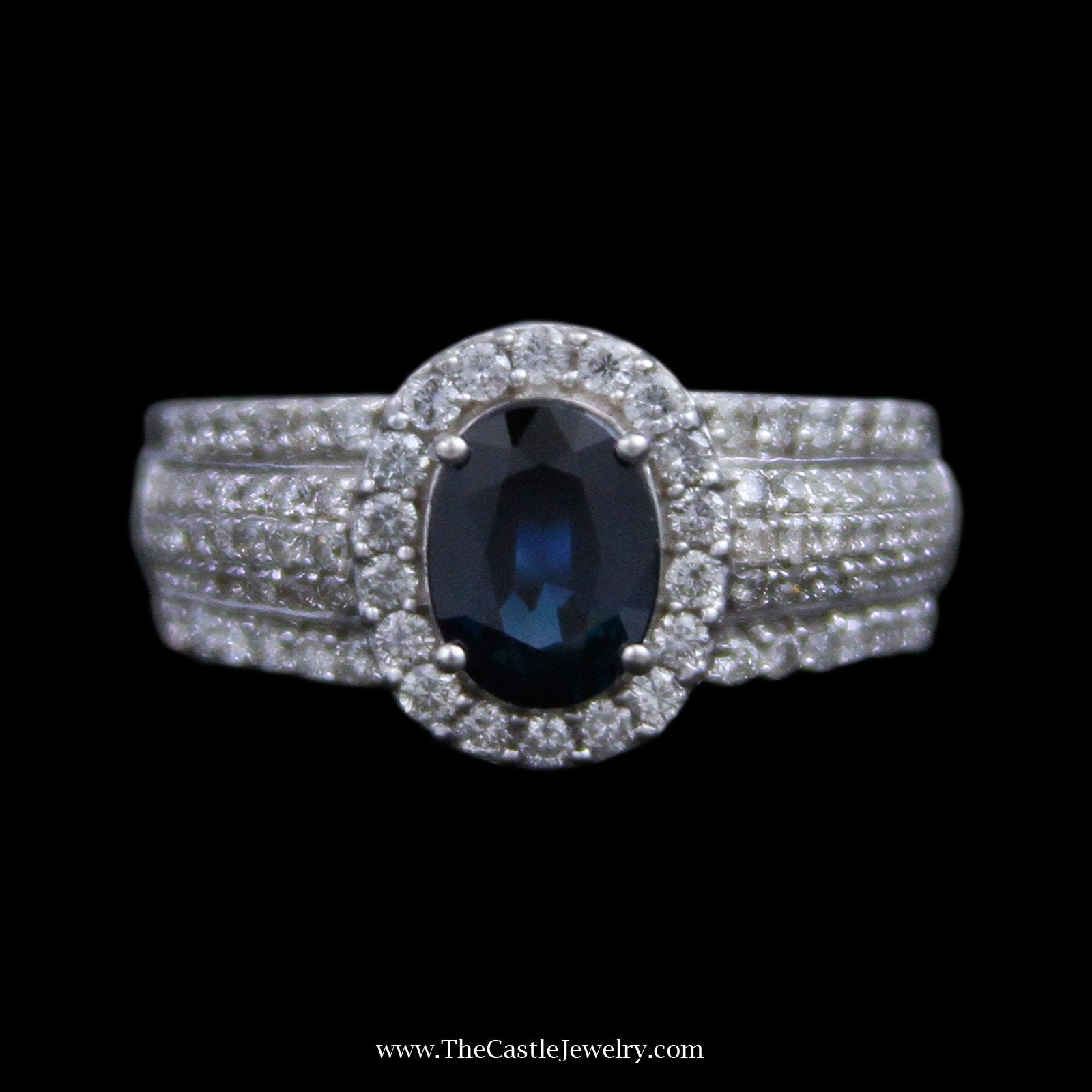 Oval Sapphire Ring, Round Brilliant Cut Diamond Bezel & Sides in 14K White Gold