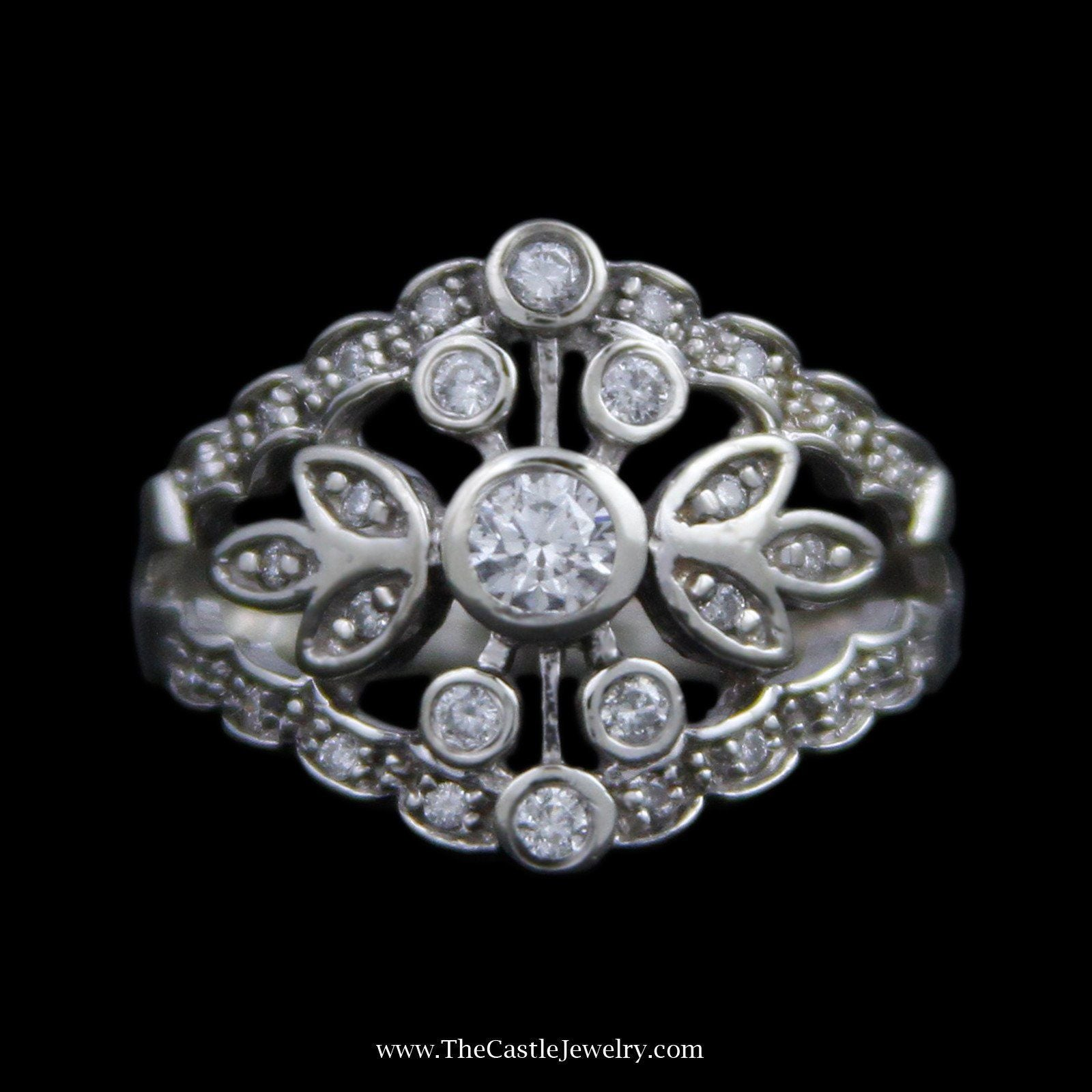 Open Leaf Design Cluster with Bezel & Prong Set Round Brilliant Cut Diamonds in 14K White Gold