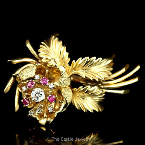 18k Yellow Gold Diamond & Ruby Flower and Leaves Brooch