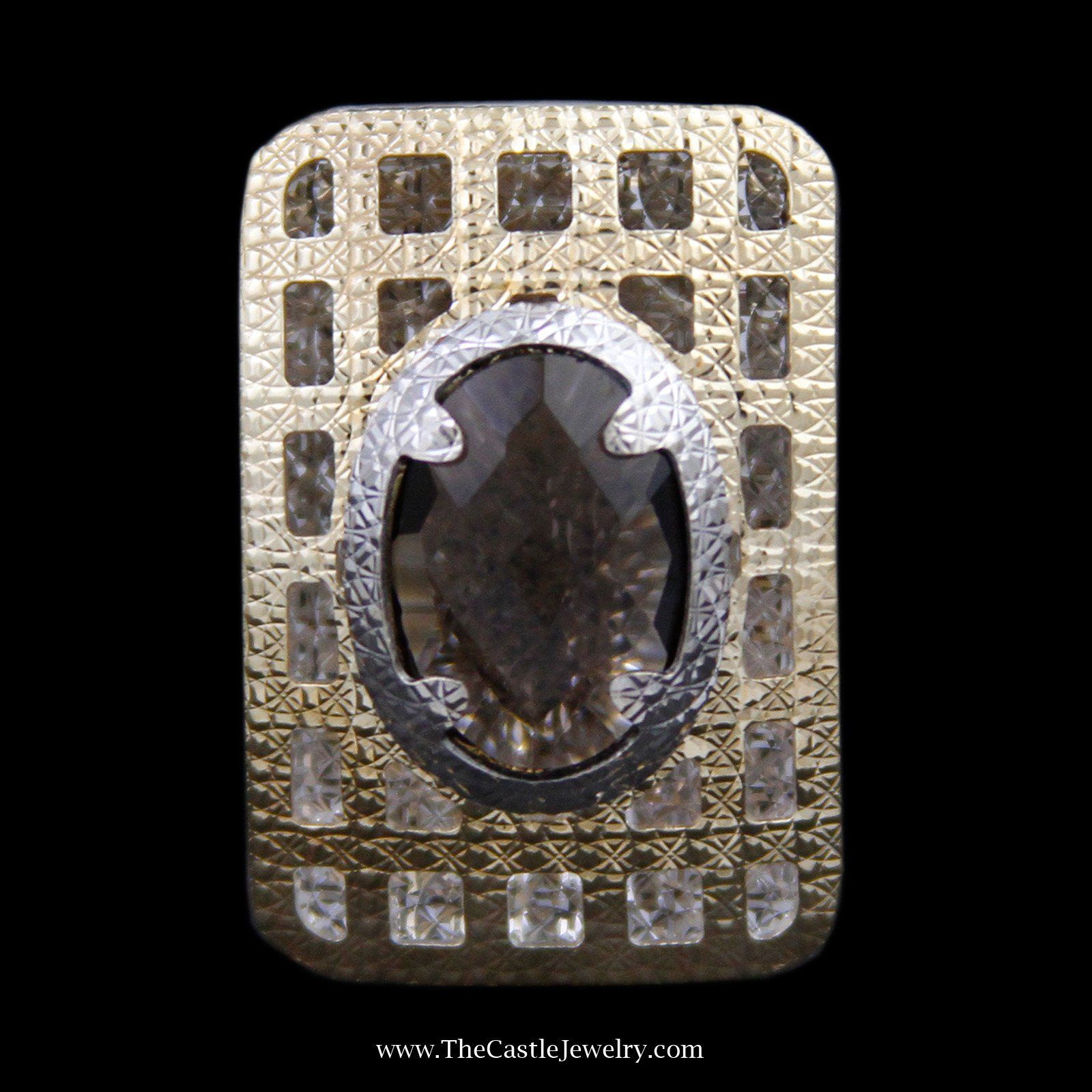Oval Quartz Ring in Large Etched Open Raised Rectangle Design Mounting in 14K Gold