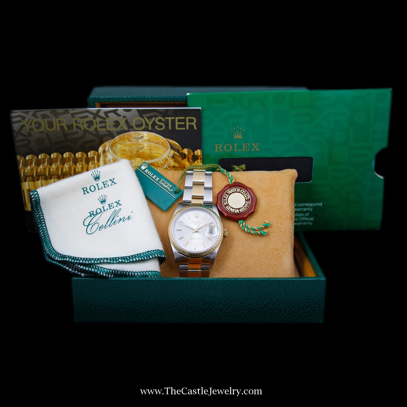 Rolex Date 34mm Watch 18K/ Stainless Steel w/ Silver Dial & Fluted Bezel 15223