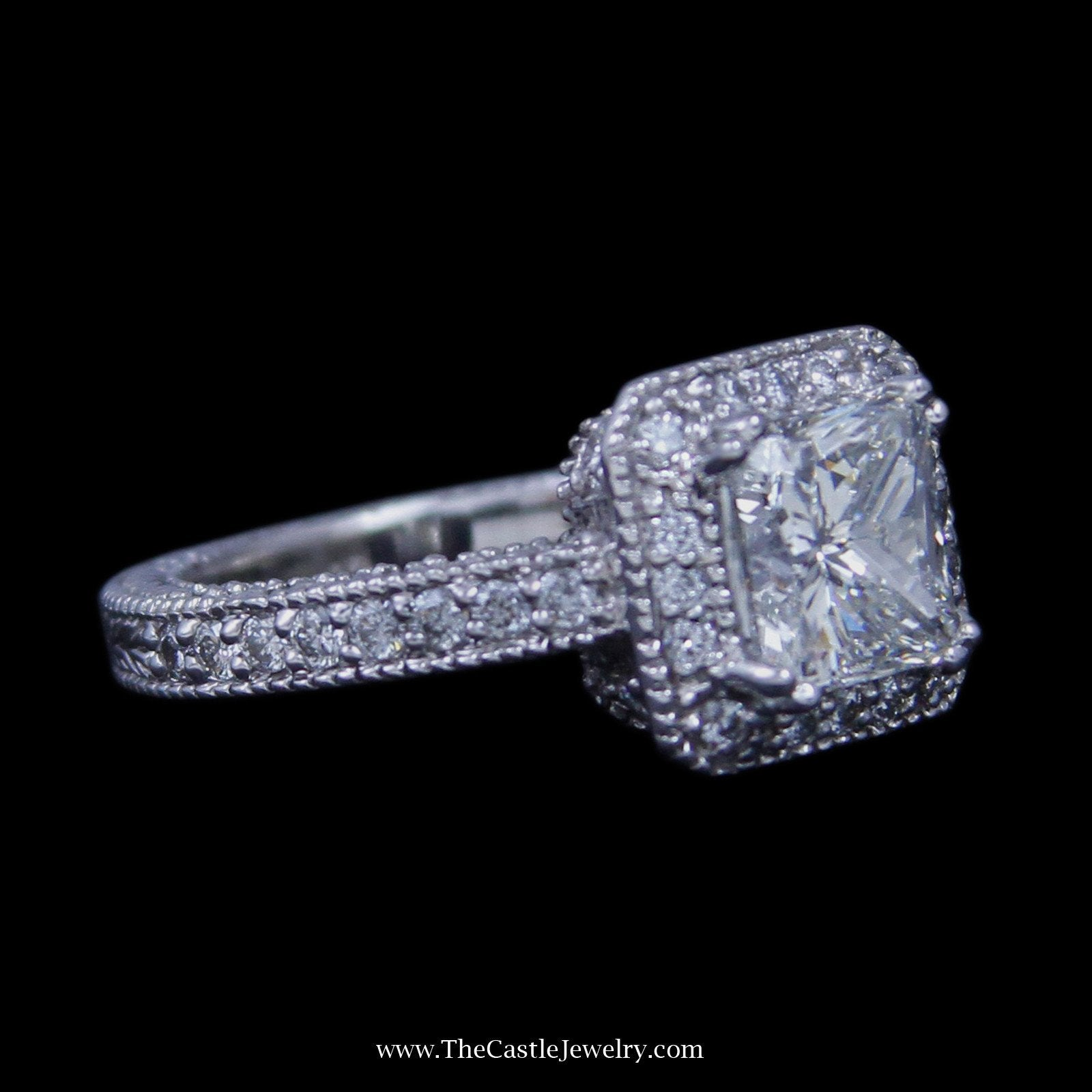2.02ct Princess Diamond Engagement Ring w/ Round Brilliant Cut Diamond Bezel & Sides in 14k-2