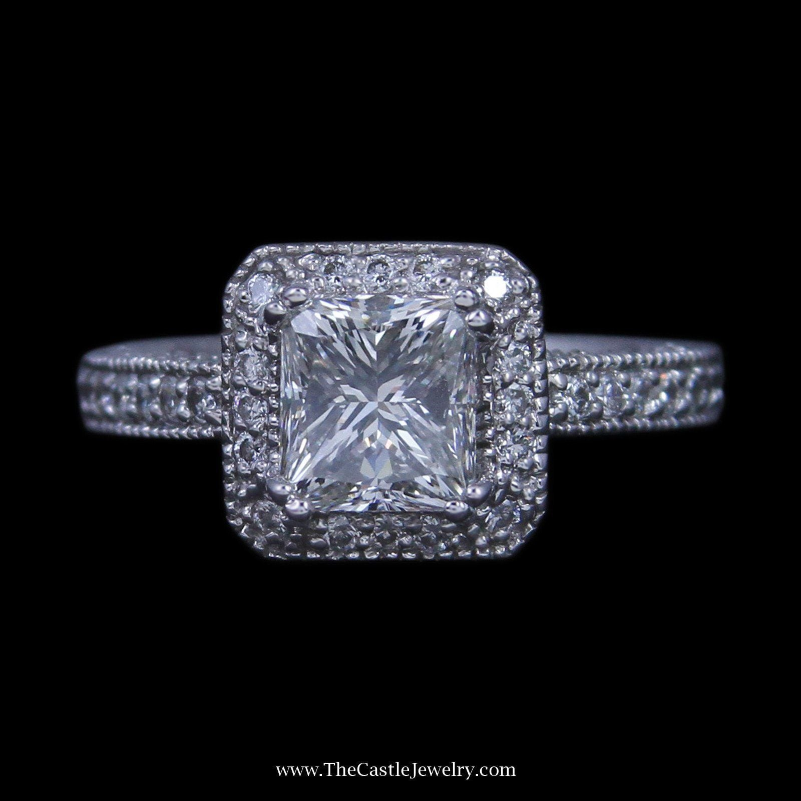 2.02ct Princess Diamond Engagement Ring w/ Round Brilliant Cut Diamond Bezel & Sides in 14k