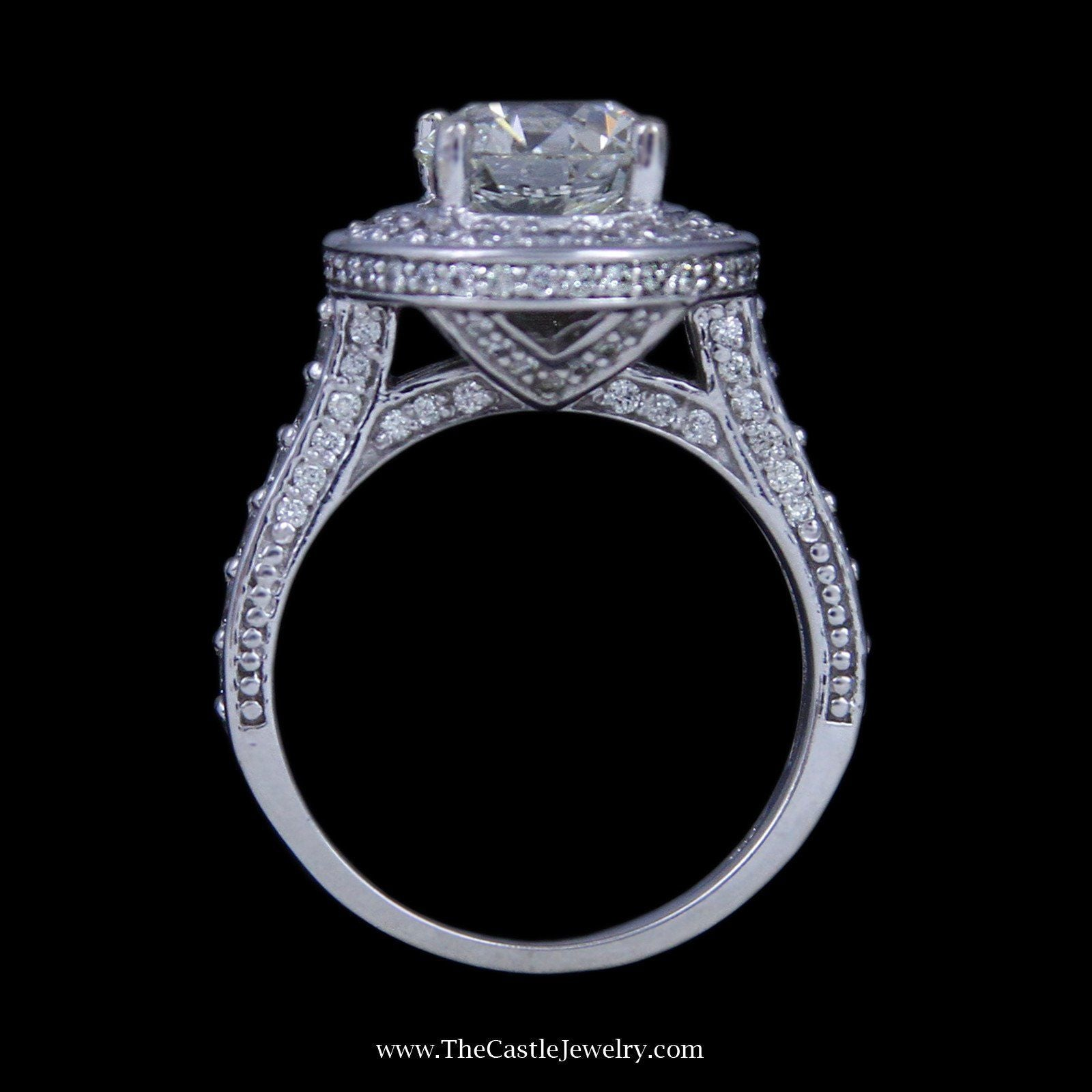2.02ct Princess Diamond Engagement Ring w/ Round Brilliant Cut Diamond Bezel & Sides in 14k-1