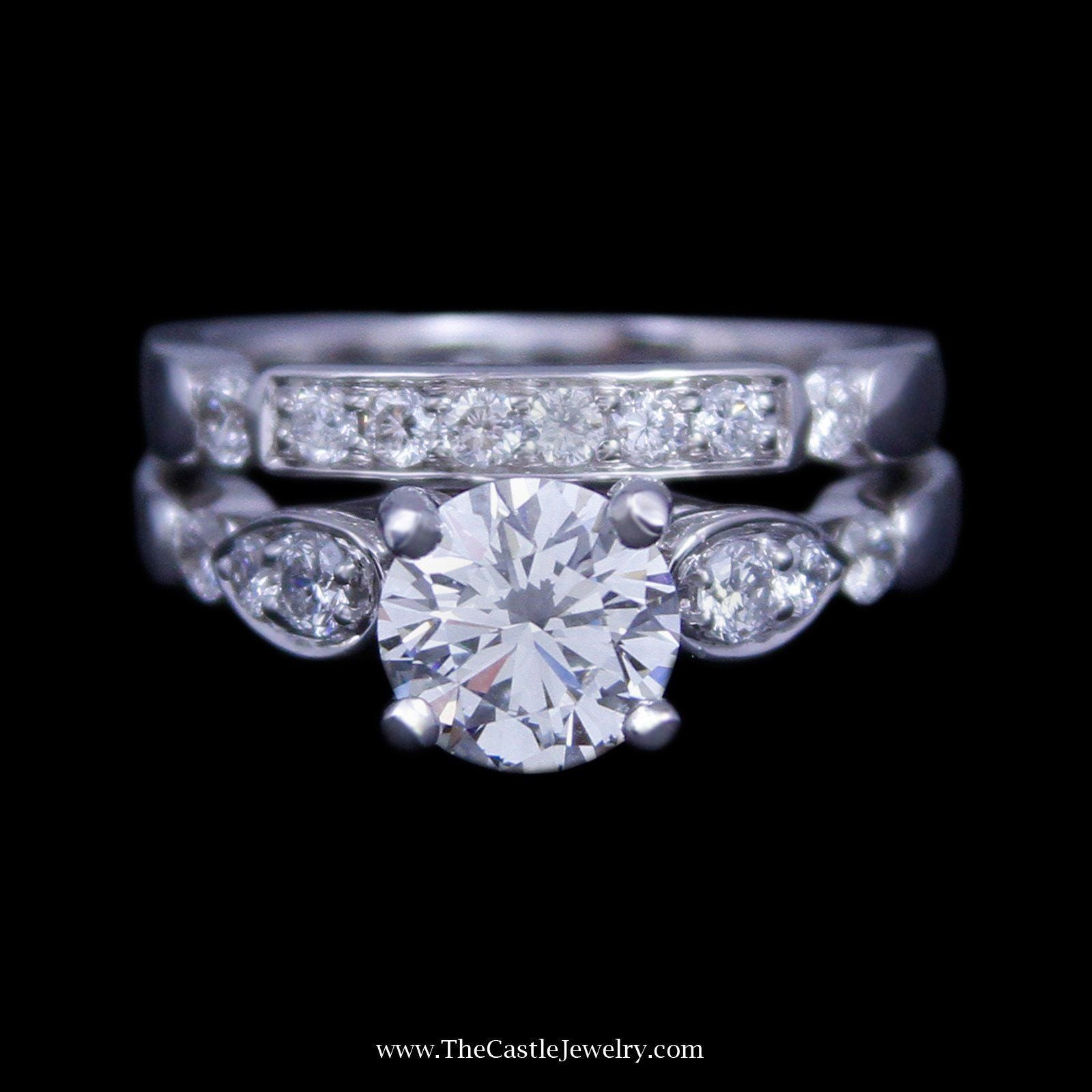 Round Brilliant Cut 2cttw Diamond Bridal Set with Diamond Sides and Diamond Band in 14k White Gold