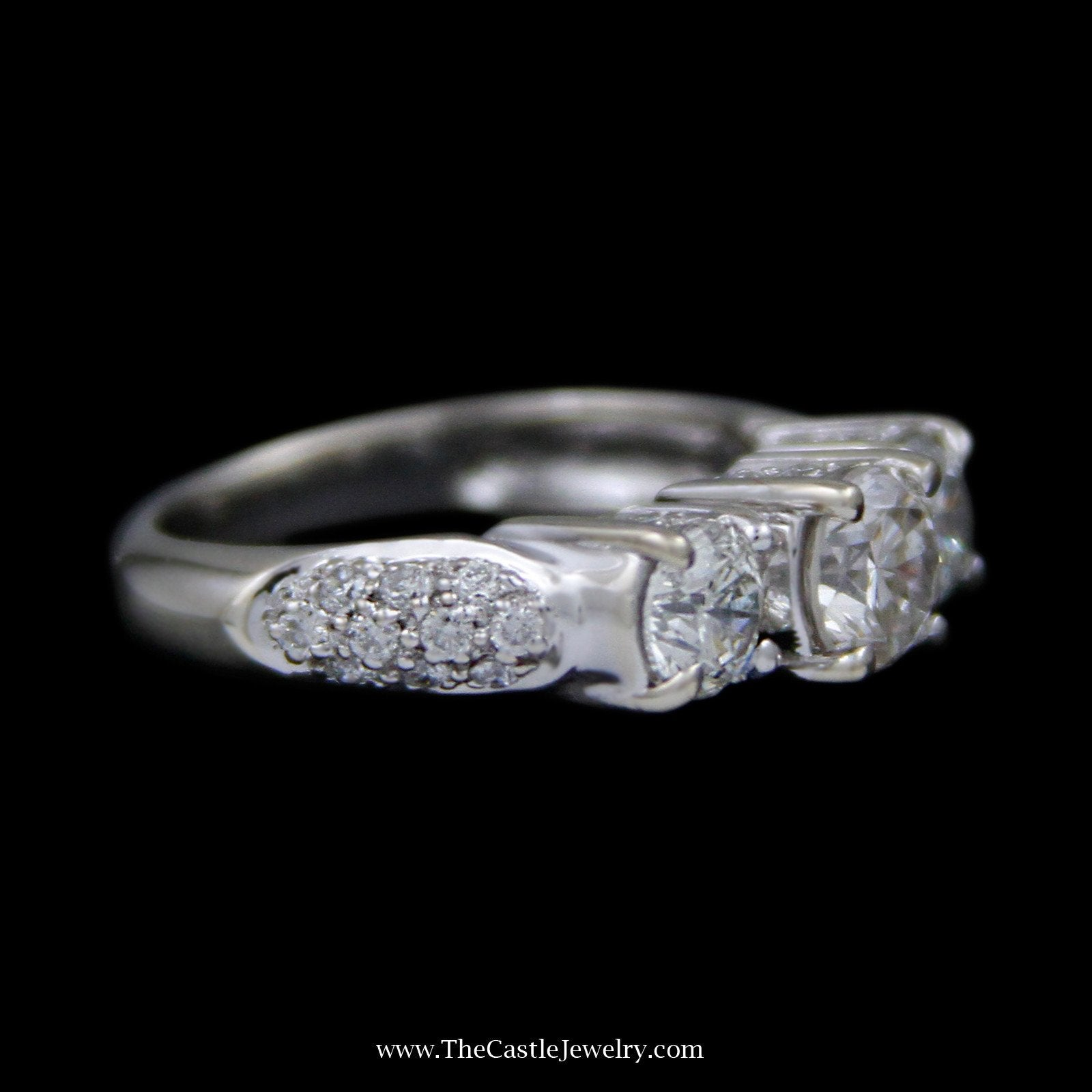 DeBeers Style Ring 3 Round Diamond Ring in Pave Set Round Diamond Mounting in 18k White Gold-2