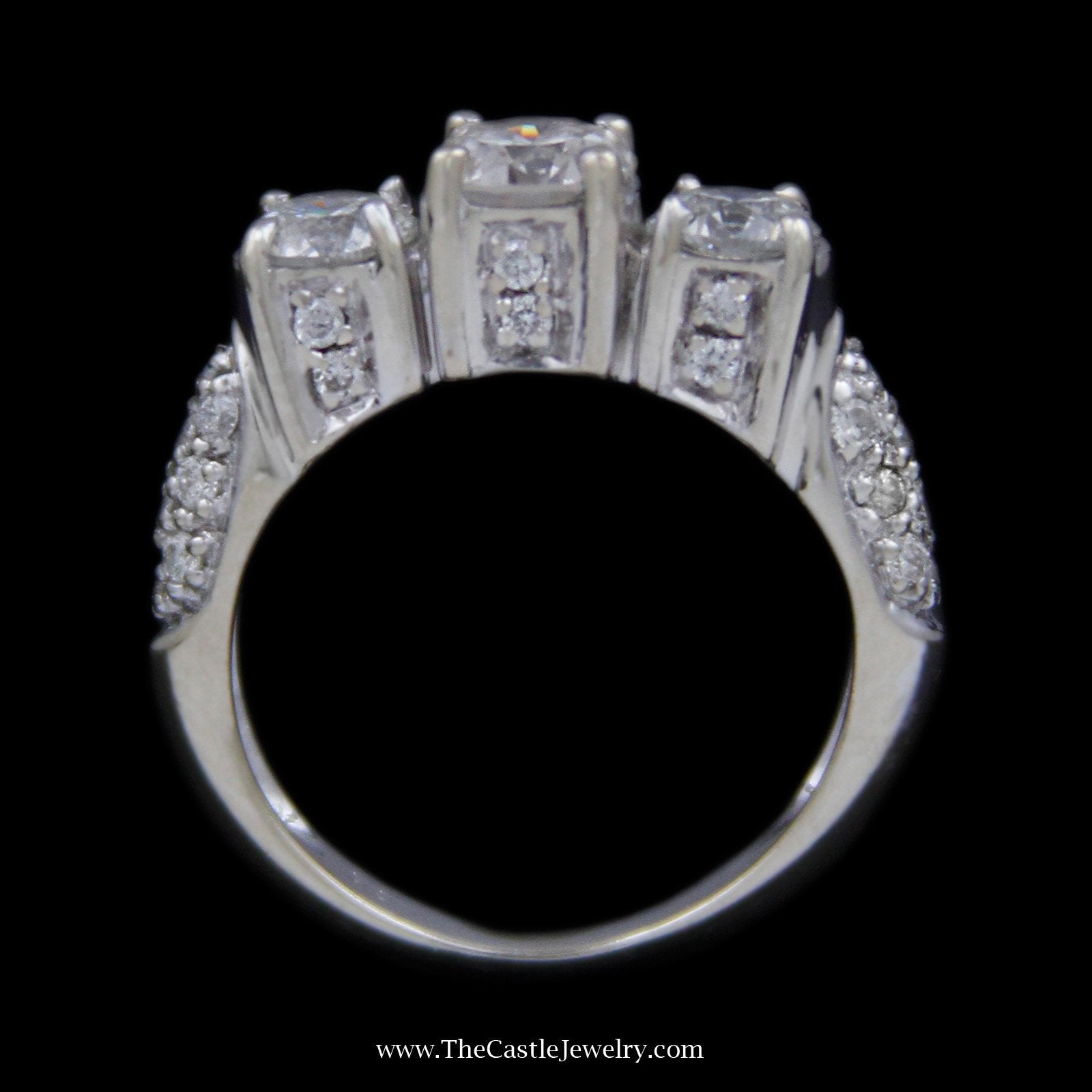 DeBeers Style Ring 3 Round Diamond Ring in Pave Set Round Diamond Mounting in 18k White Gold-1