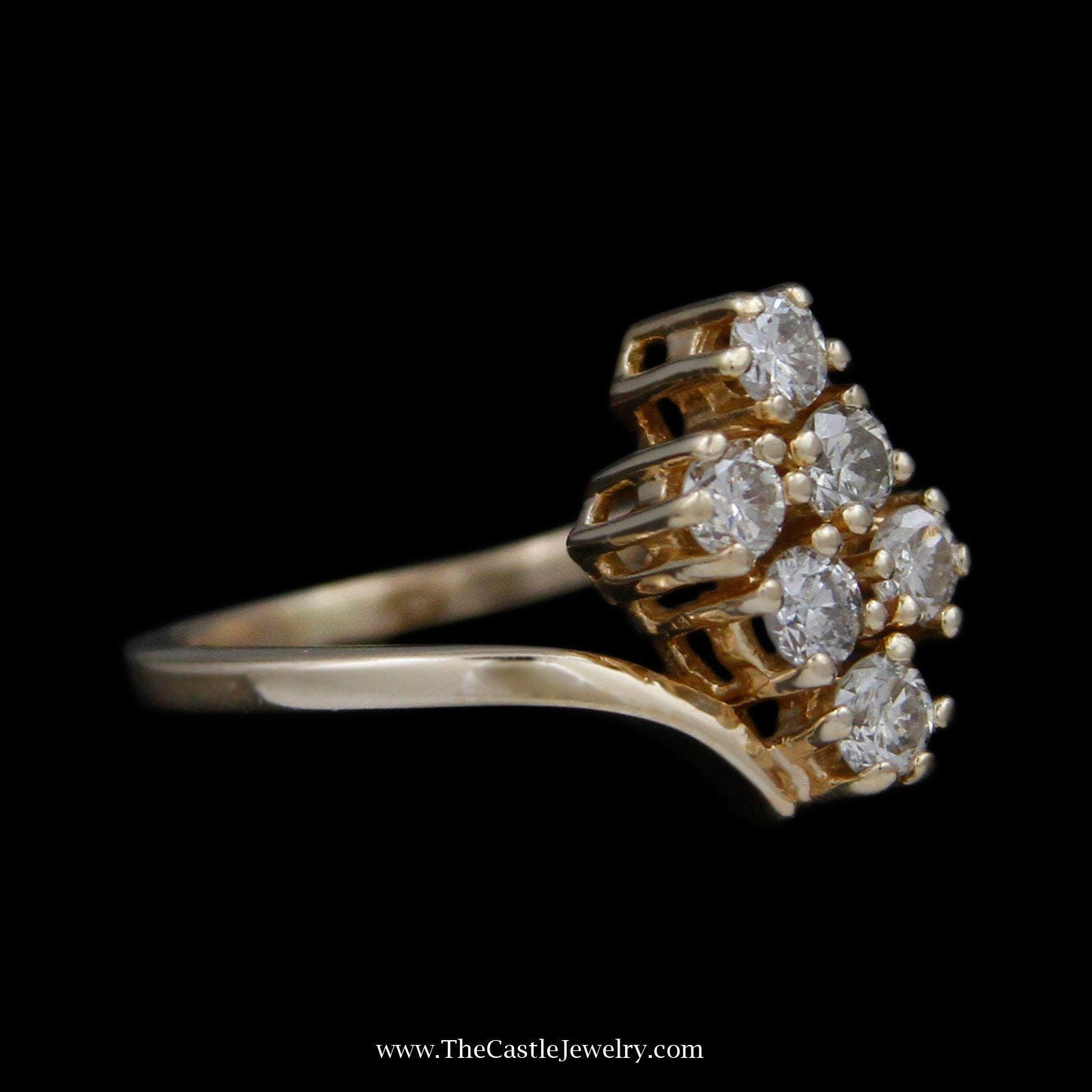 Double Diagonal Row .75cttw Round Diamond Cluster Ring in Bypass Design Mounting-2
