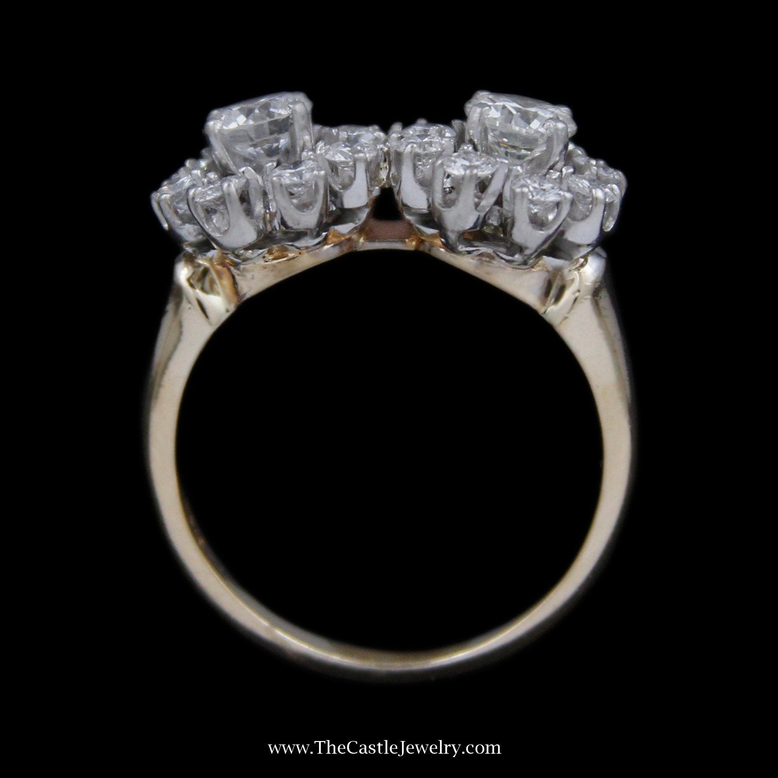 Double Diamond Flower Design Cluster Ring with Round Brilliant Cut Diamonds in Yellow Gold