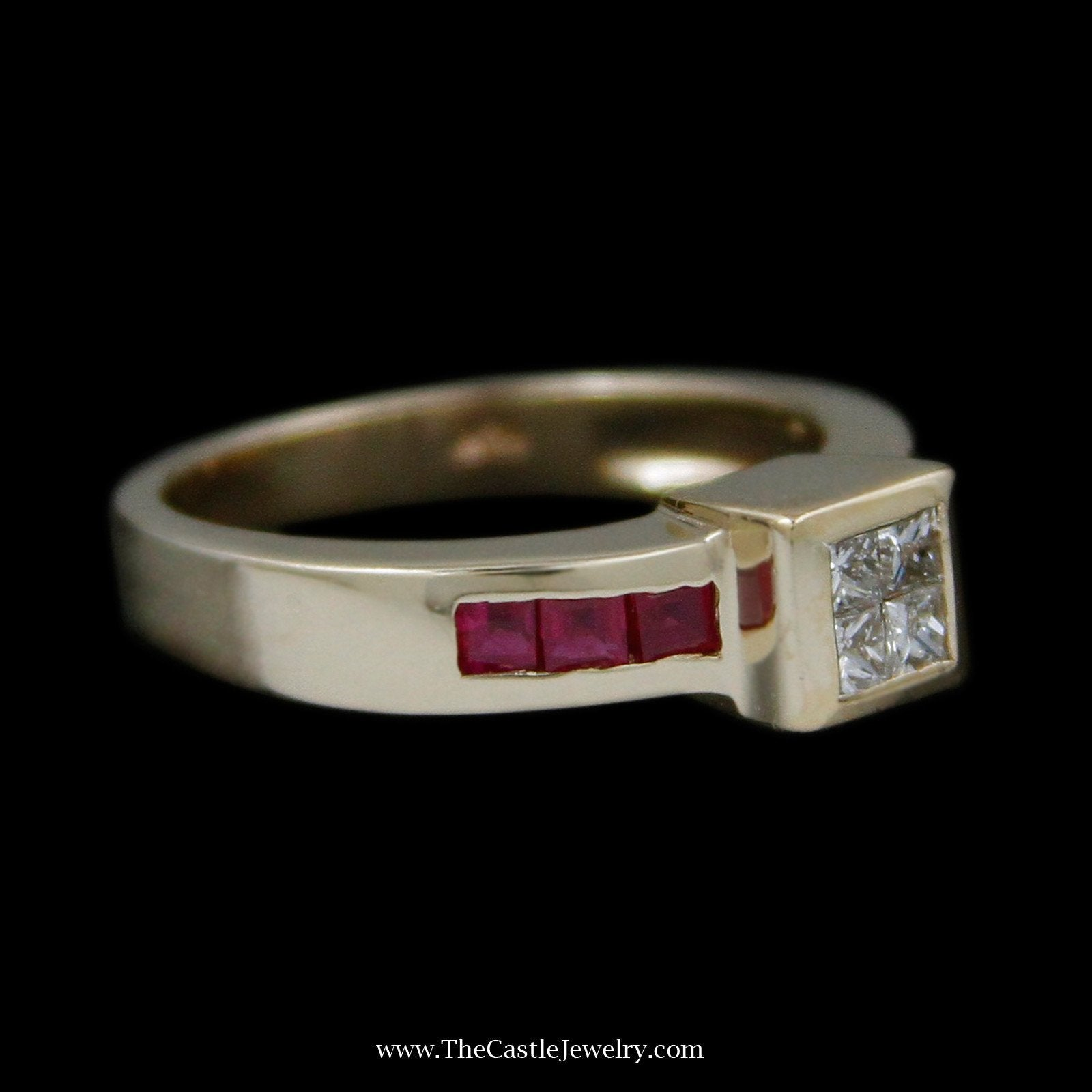 Invisible Set Ring with 4 Princess Cut Diamonds & Channel Set Square Rubies