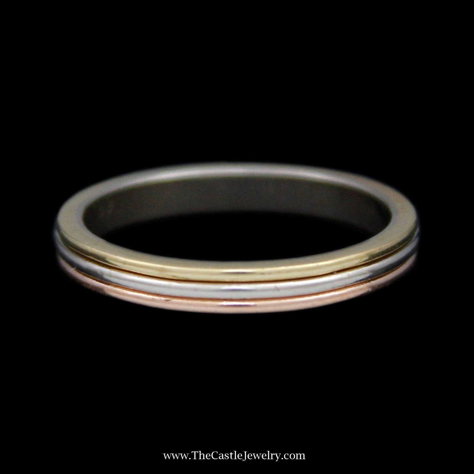 "Cartier 2.8mm Ridged ""Trinity"" Band Crafted in 18k Yellow, White, & Rose Gold"
