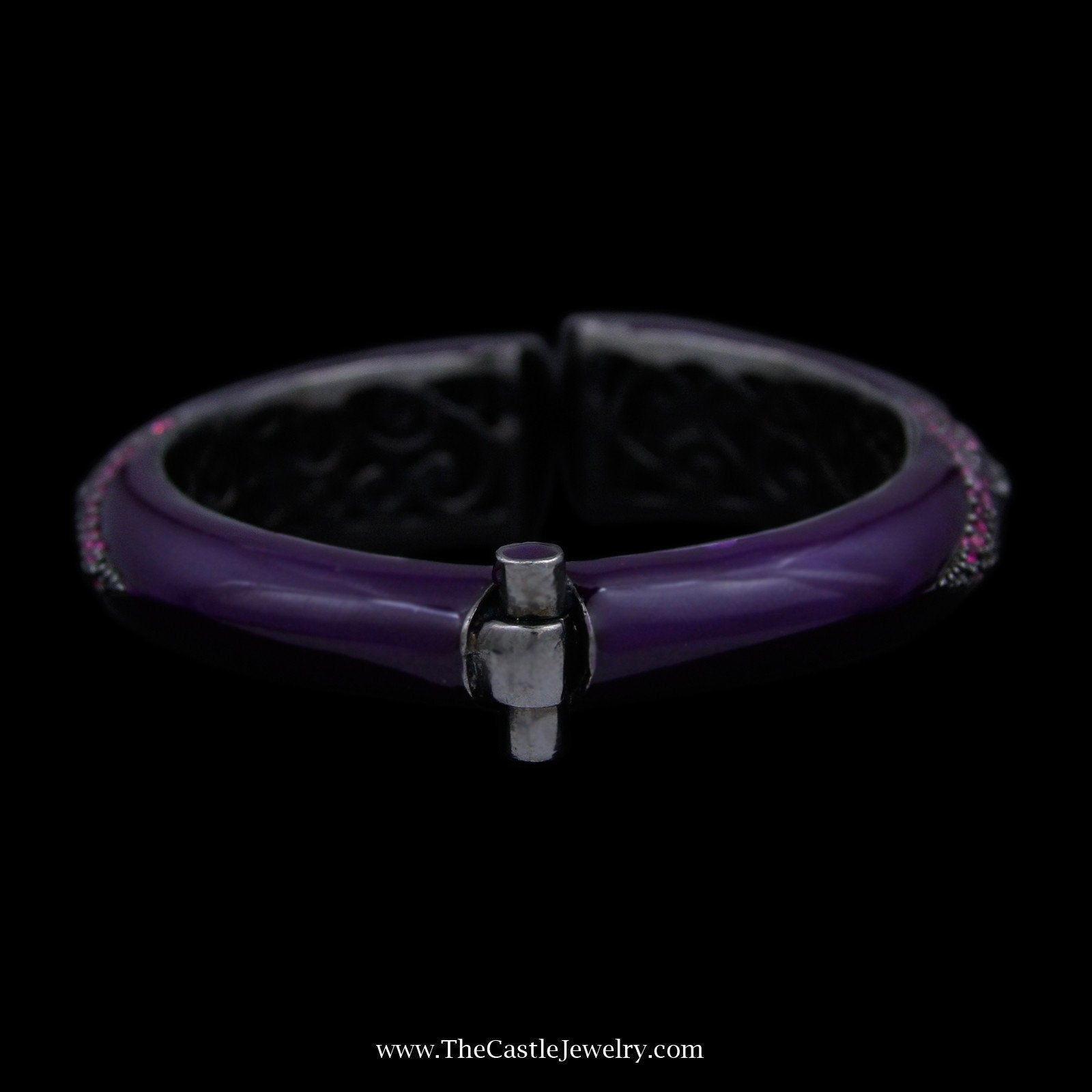 Matthew Campbell Laurenza Bangle Bracelet w/ Purple Enamel & Pink Colored Gemstones Sterling Silver-2