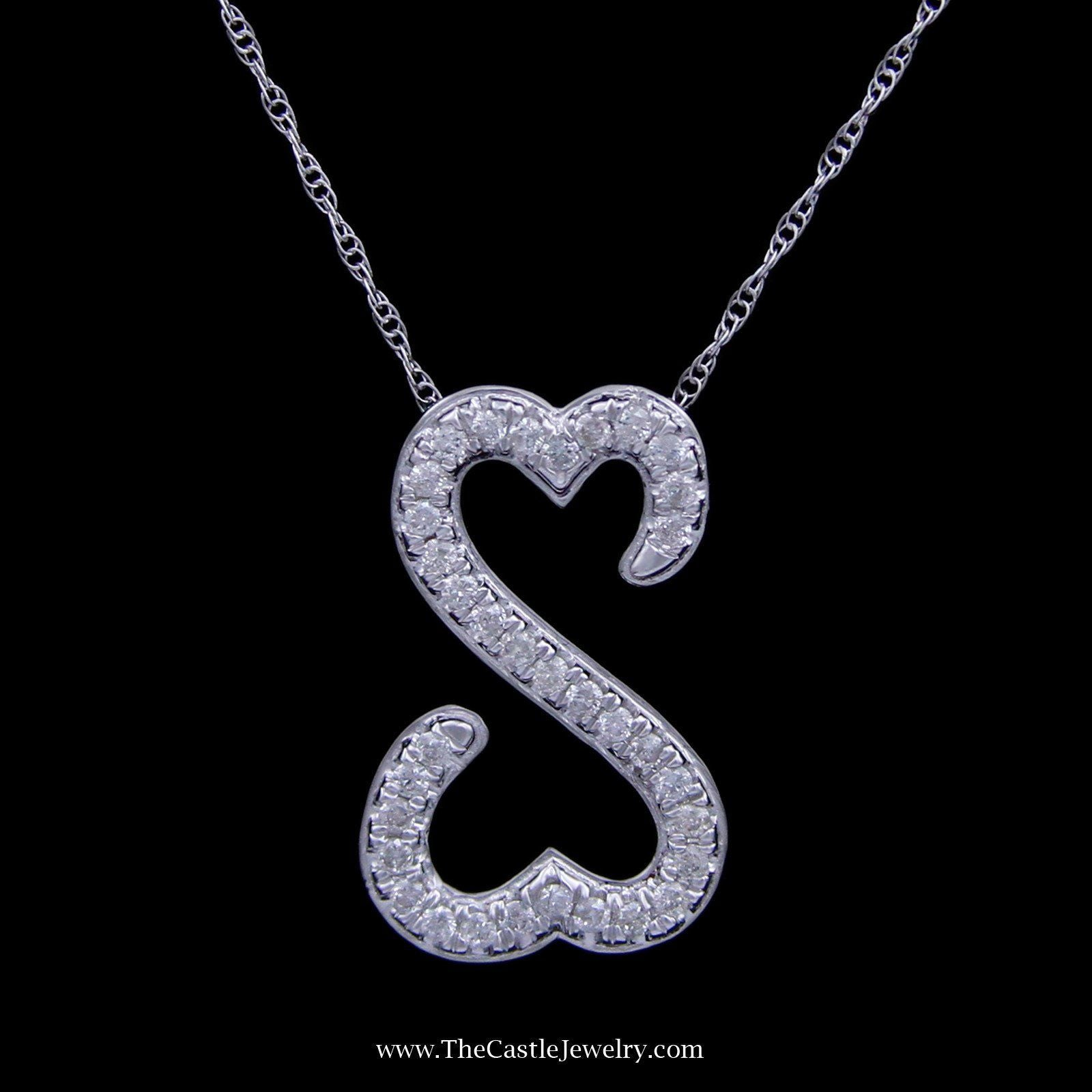 Special! .25cttw Double Heart Round Brilliant Cut Diamond Pendant Crafted in 10k White Gold-0