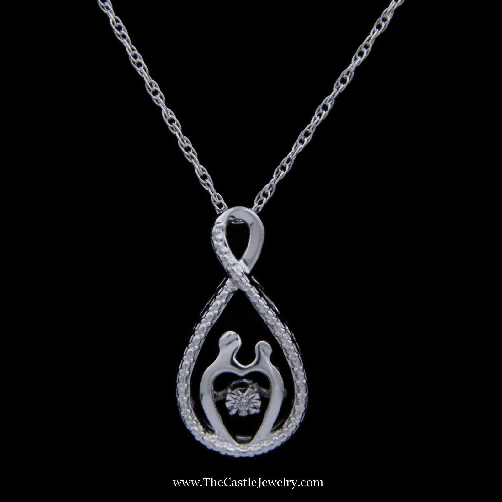 SPECIAL! Sterling Silver Mother Child Heart Beat Necklace w/ Milgrain Accent