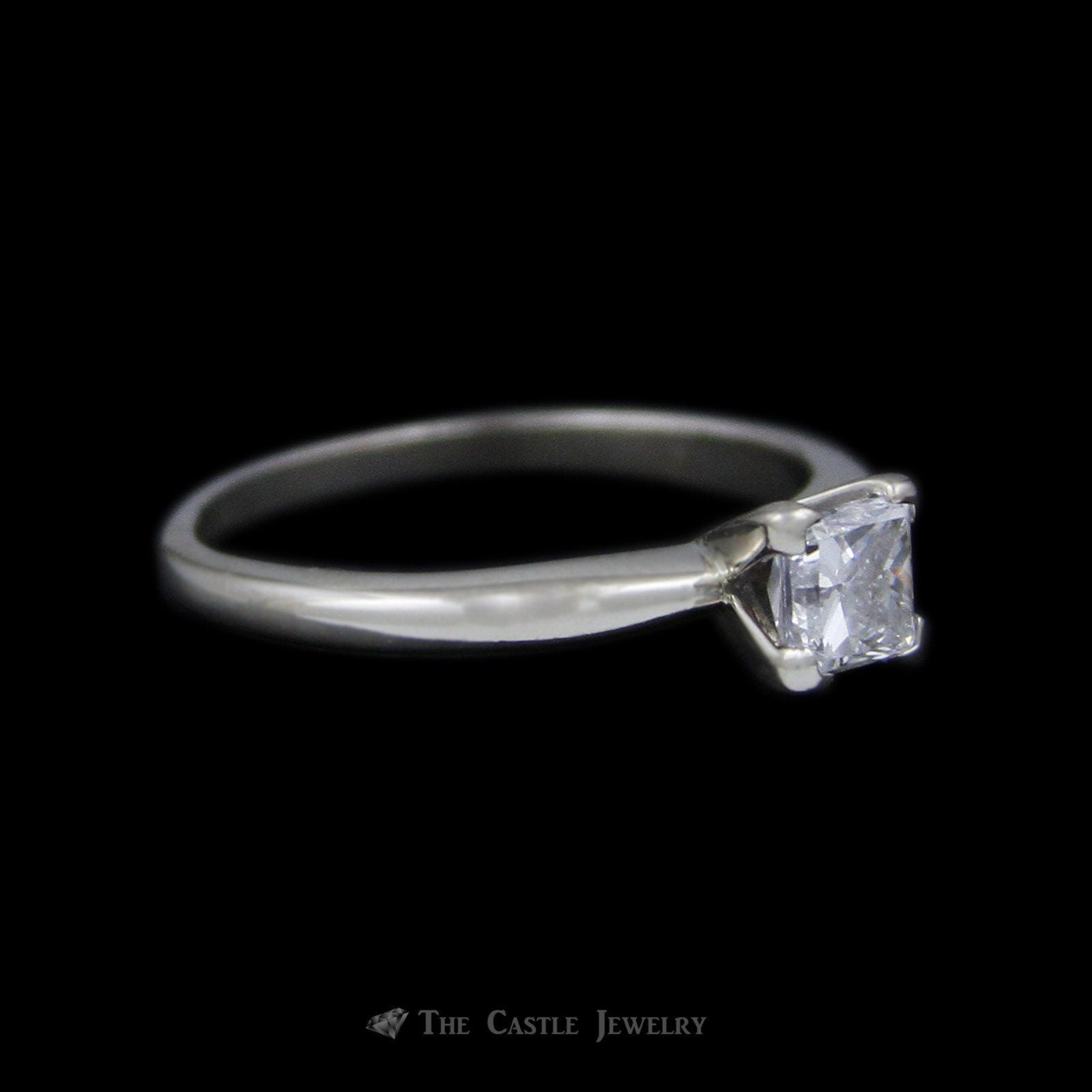 Princess Cut Diamond Solitaire .55 carat Engagement Ring in 14K White Gold