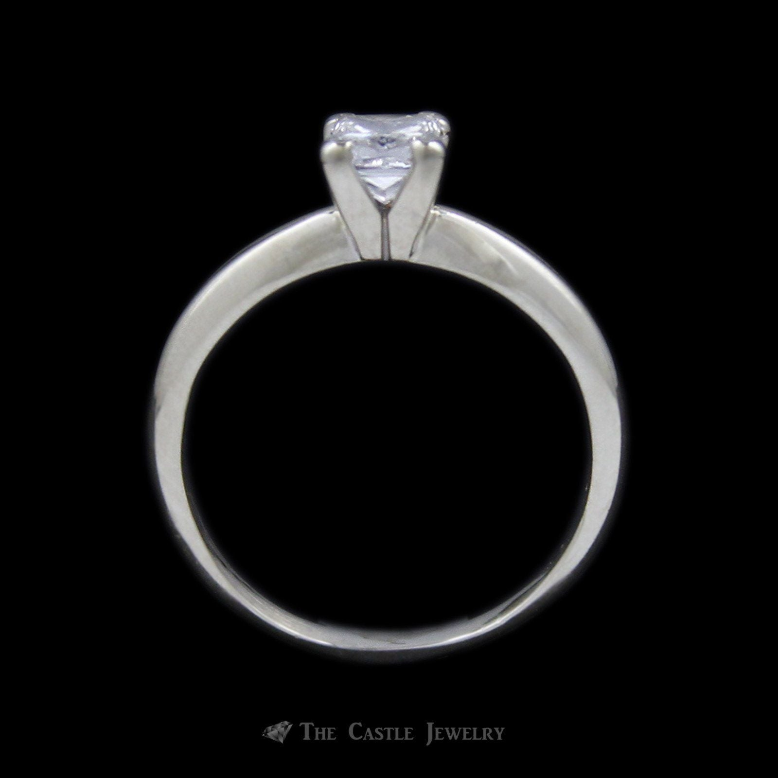 Princess Cut Diamond Solitaire .55 carat Engagement Ring in 14K White Gold-1