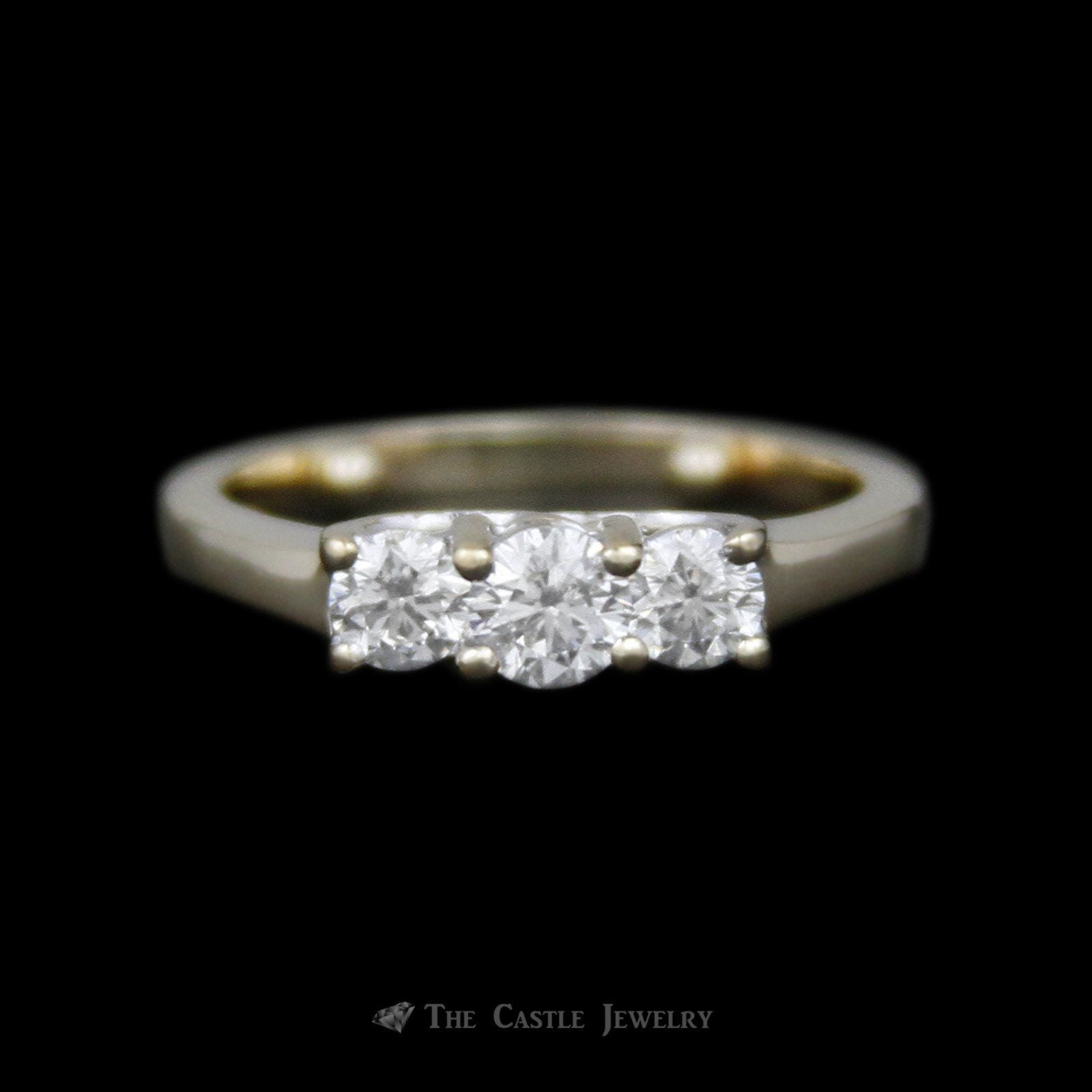 DeBeers Style 1cttw Round 3 Diamond Anniversary Ring in 14K Yellow Gold