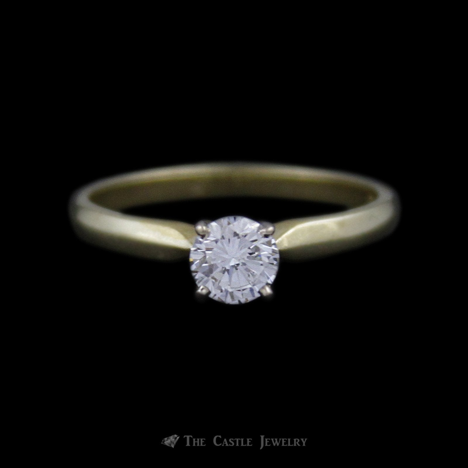 Round Brilliant Cut ½ Carat Diamond Engagement Ring SI1 G/H in 18K Yellow Gold