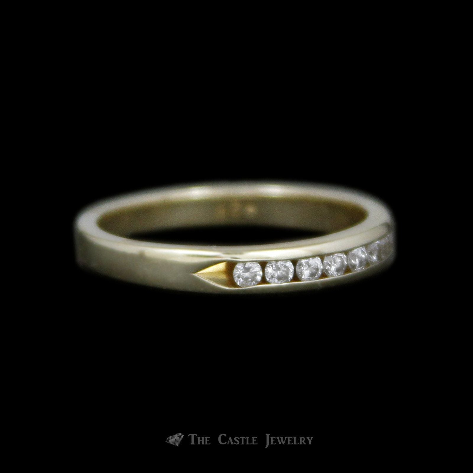 Channel Set Round Brilliant Cut .26cttw Diamond Wedding Band in 14K Yellow Gold-2
