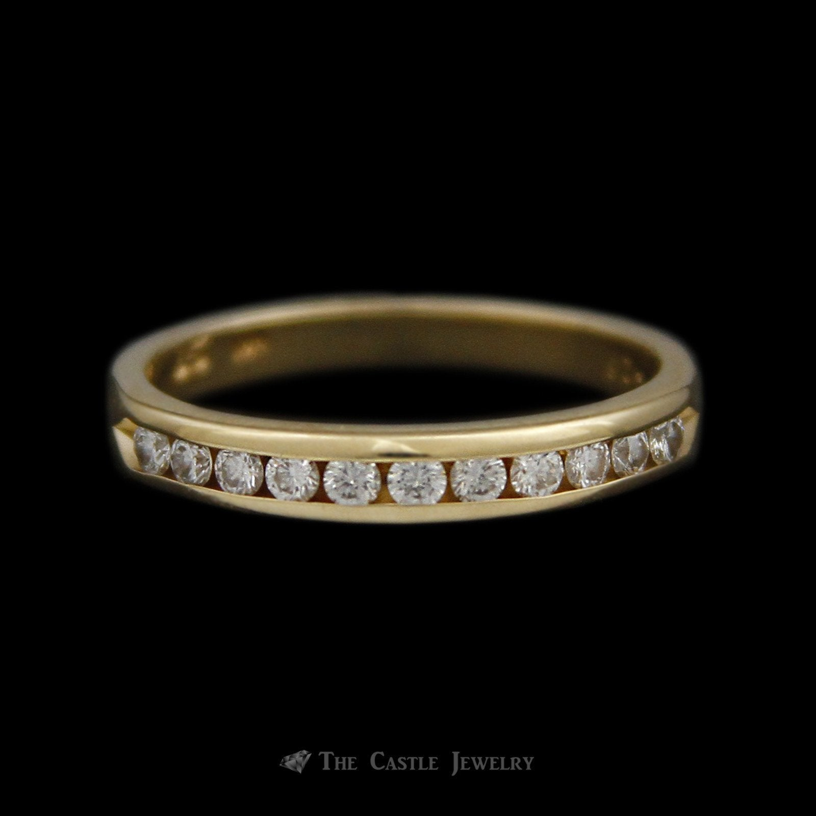 Channel Set Round Brilliant Cut .26cttw Diamond Wedding Band in 14K Yellow Gold