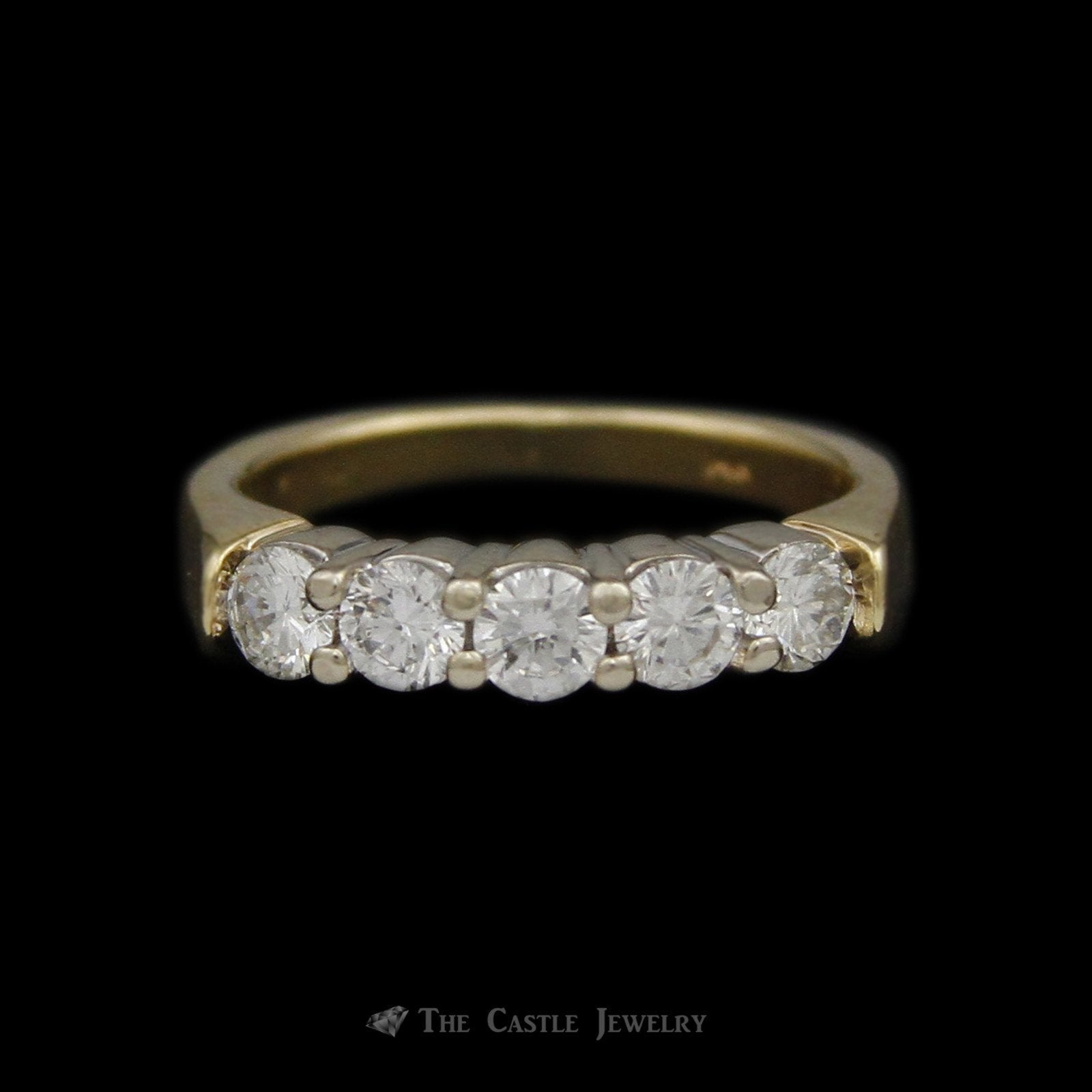 Round Brilliant Cut 5 Diamond ¾ cttw Wedding Anniversary Band in 14K Yellow Gold