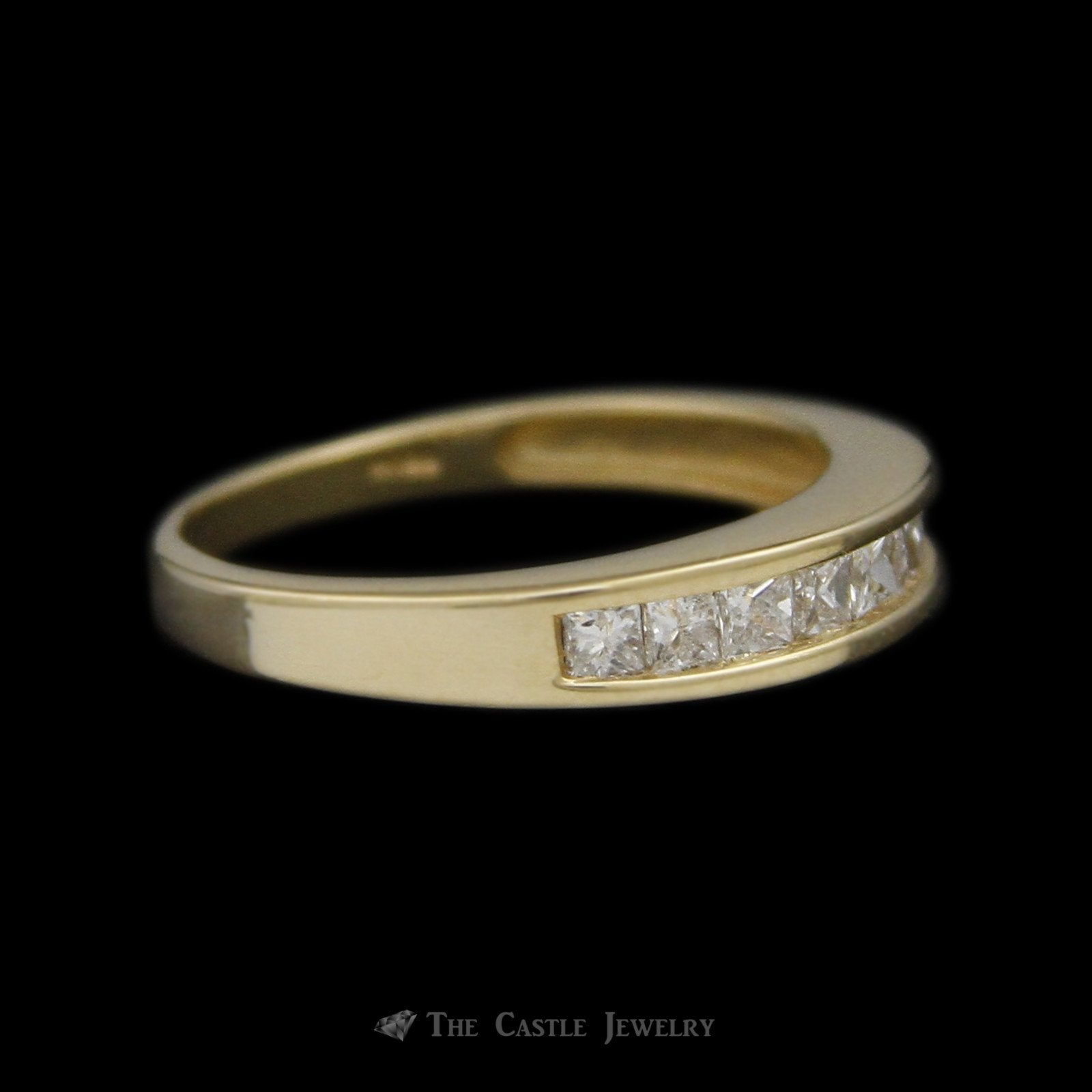 Channel Set Princess Cut Diamond Wedding Band 1/2cttw in 14K Yellow Gold-2