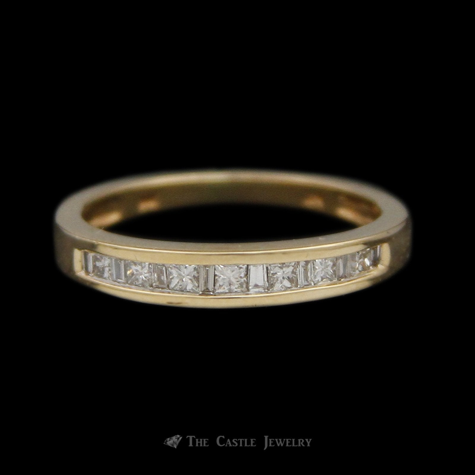 Alternating Princess Cut & Baguette 1/3cttw Diamond Band in 14K Yellow Gold