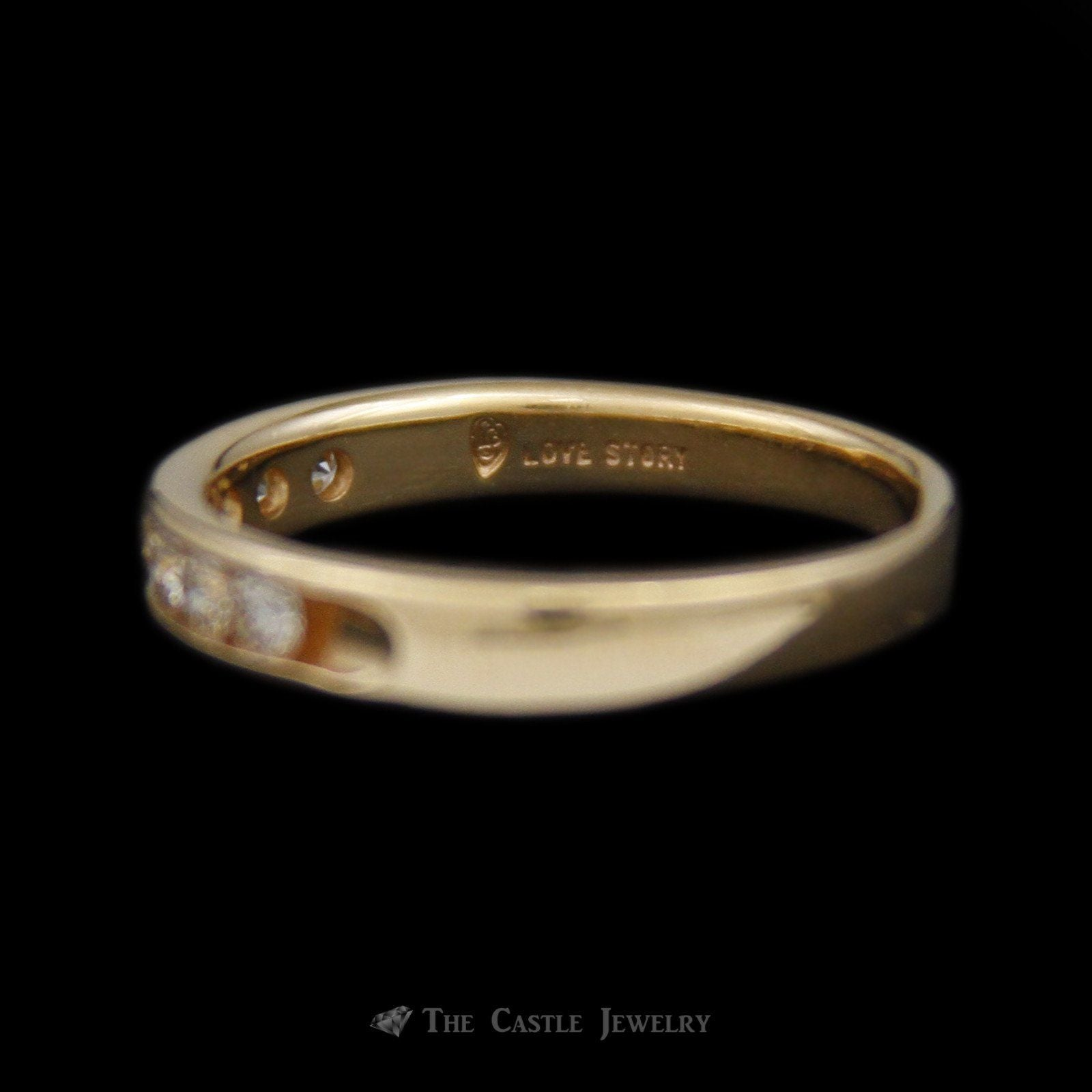 Love Story Channel Set Diamond Wedding Band .52cttw in 14K Yellow Gold-2