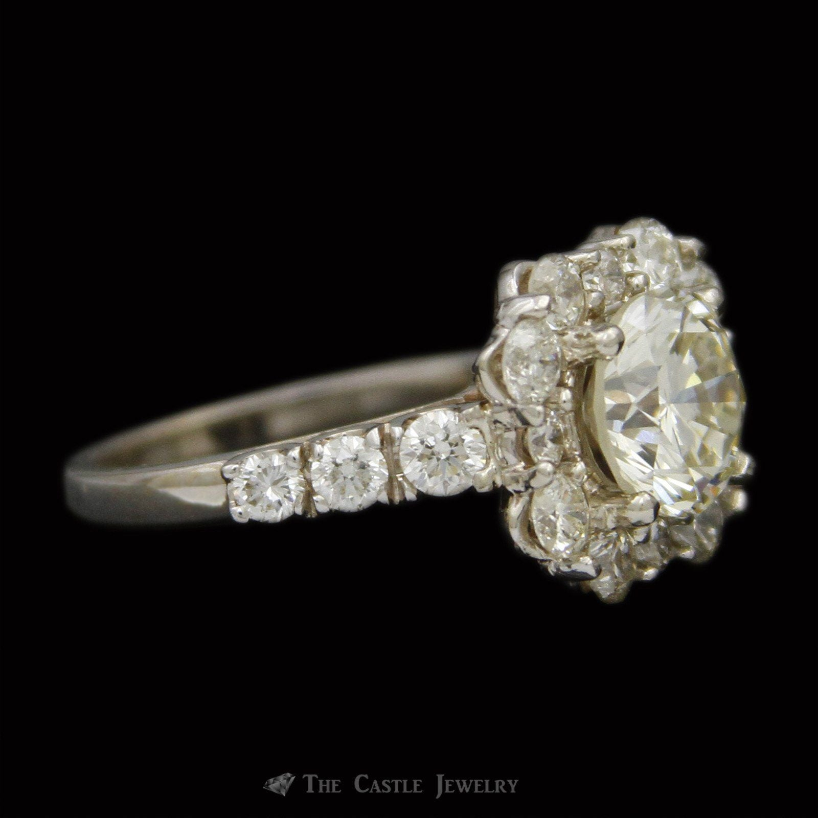 2.54ct Round Brilliant Cut Diamond Engagement Ring w/ Stunning Round Diamond Bezel & Sides in 14k-2