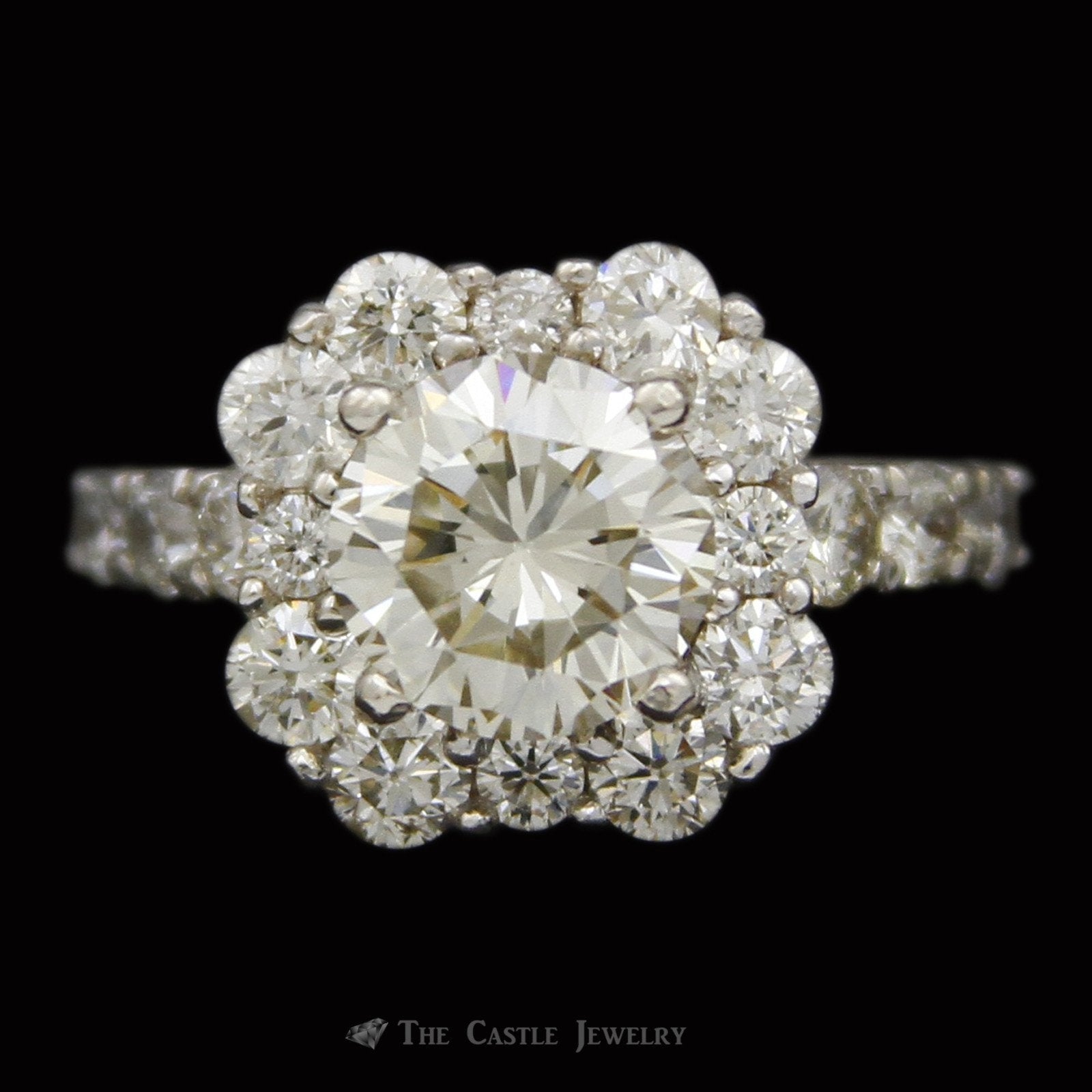 2.54ct Round Brilliant Cut Diamond Engagement Ring w/ Stunning Round Diamond Bezel & Sides in 14k