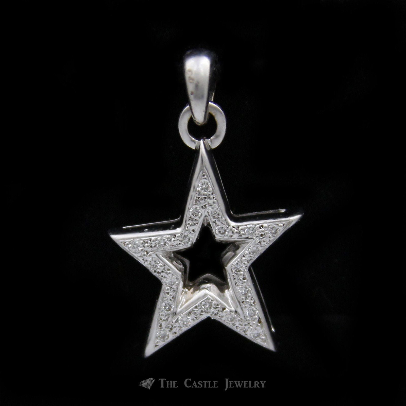 Diamond Star Pendant in 10K White Gold