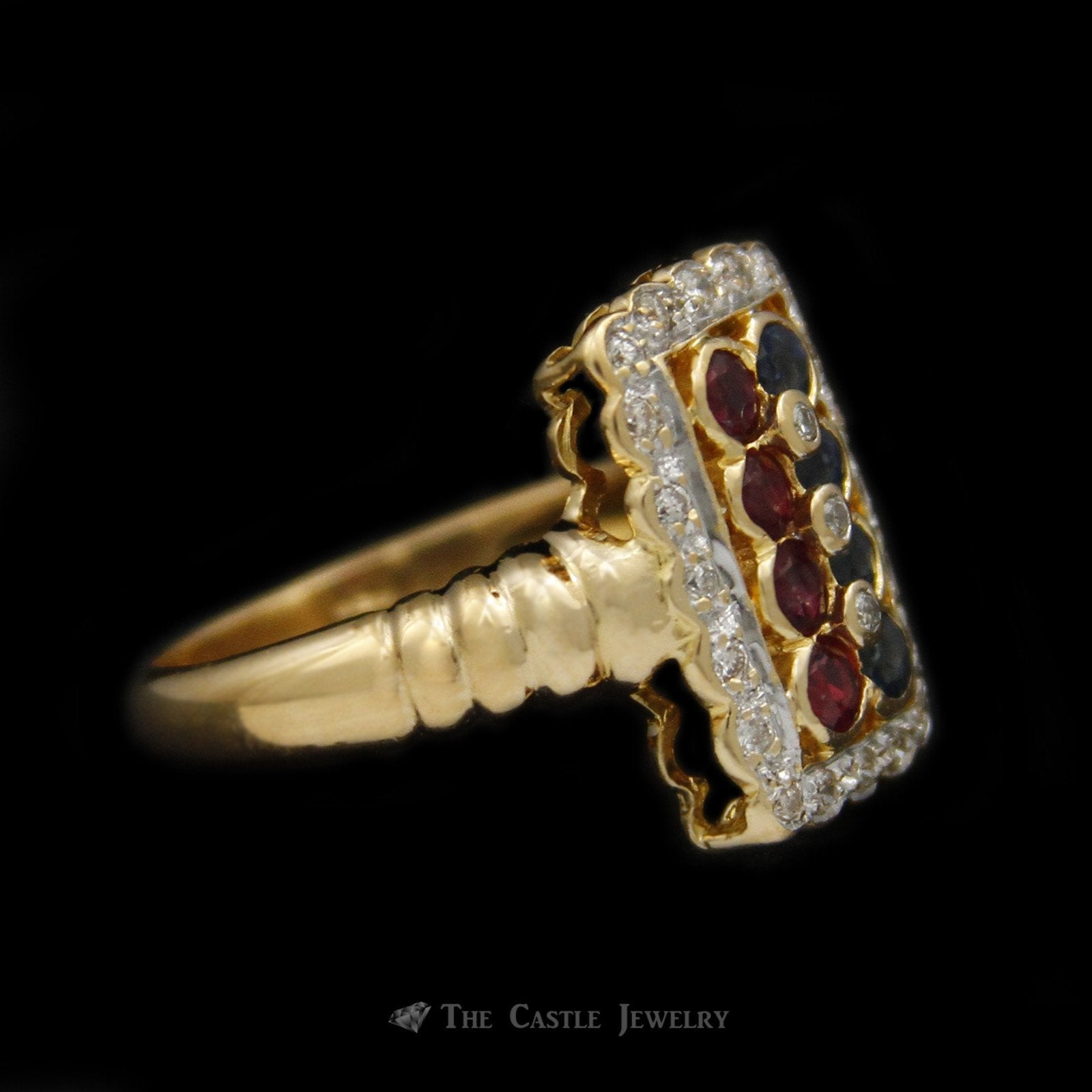 Rectangular Shaped Ruby & Sapphire Ring with Scalloped Design Diamond Bezel in 18K Yellow Gold-2