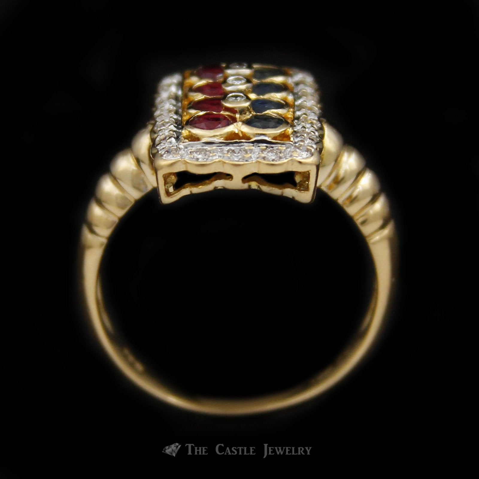 Rectangular Shaped Ruby & Sapphire Ring with Scalloped Design Diamond Bezel in 18K Yellow Gold-1