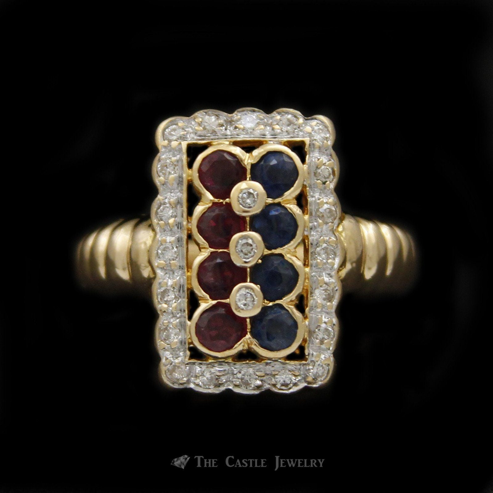 Rectangular Shaped Ruby & Sapphire Ring with Scalloped Design Diamond Bezel in 18K Yellow Gold