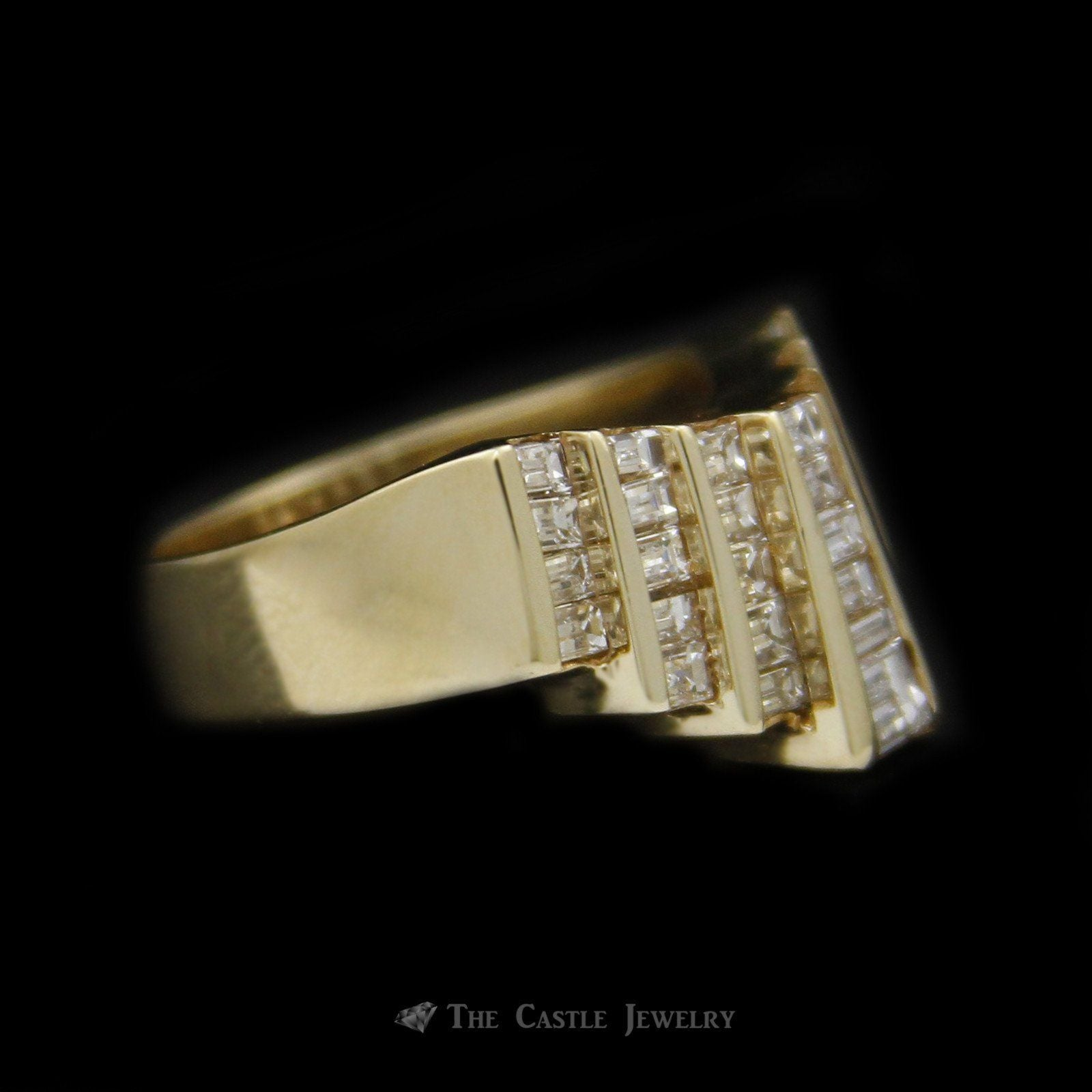 Stunning Baguette Diamond Pyramid Style Tiara Ring 1.50cttw in 14K Yellow Gold-2