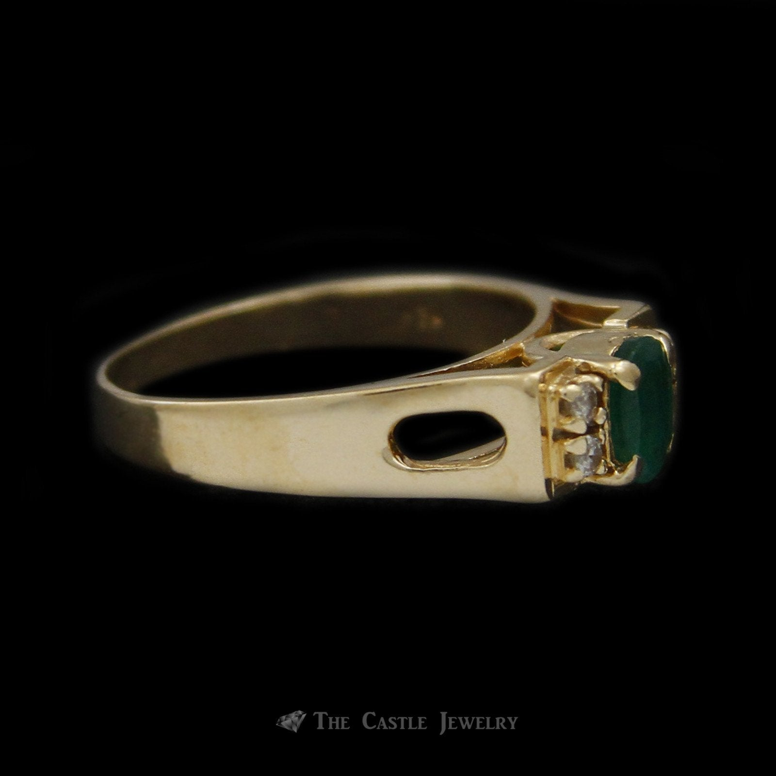 Oval Emerald Ring in Rectangular Mounting & Diamond Accents in 14K Yellow Gold-2