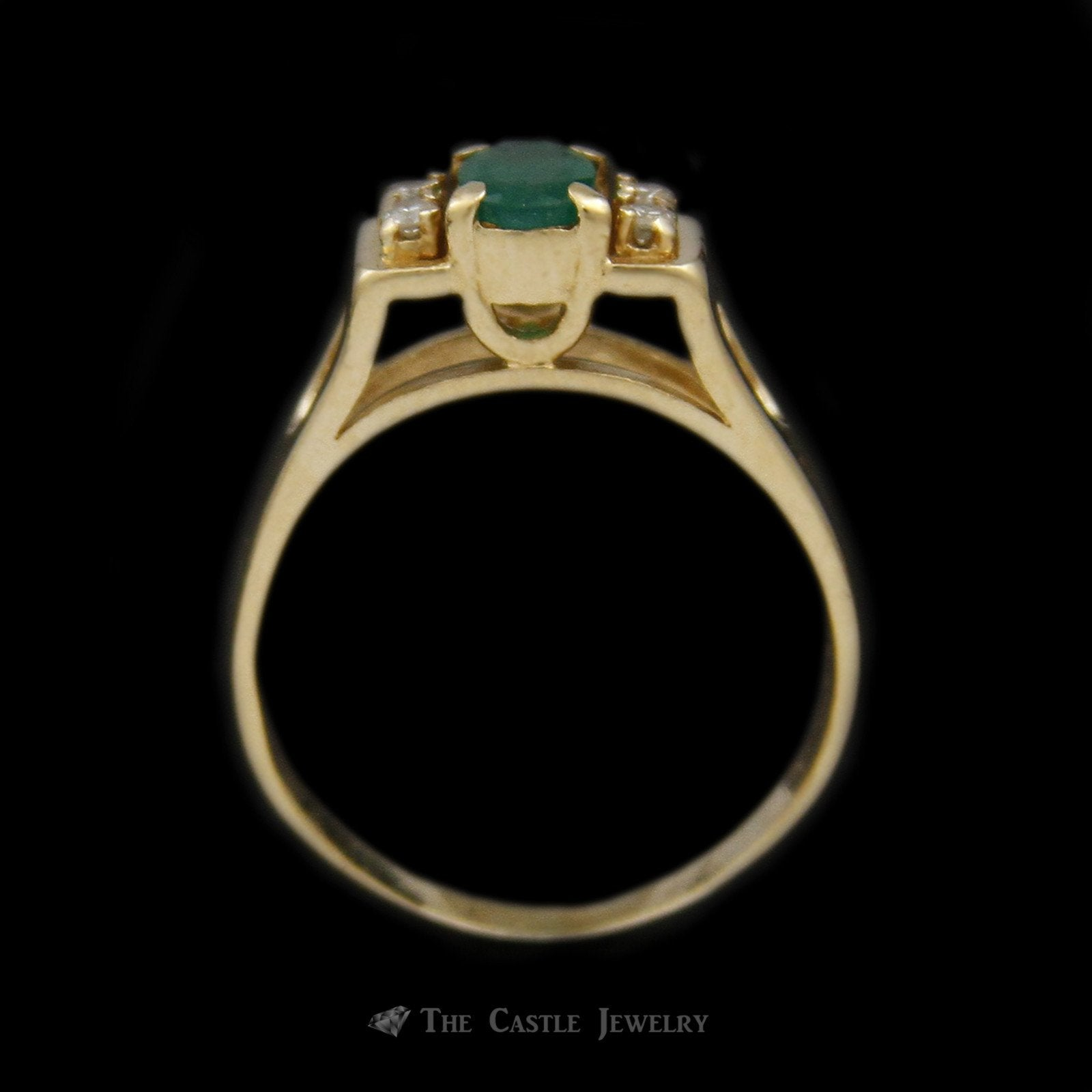 Oval Emerald Ring in Rectangular Mounting & Diamond Accents in 14K Yellow Gold-1