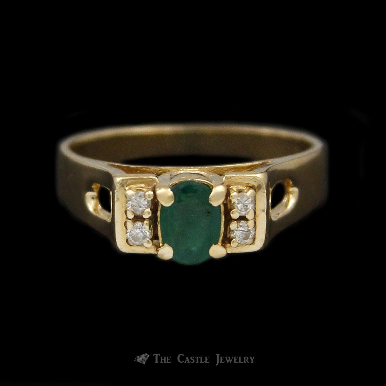 Oval Emerald Ring in Rectangular Mounting & Diamond Accents in 14K Yellow Gold
