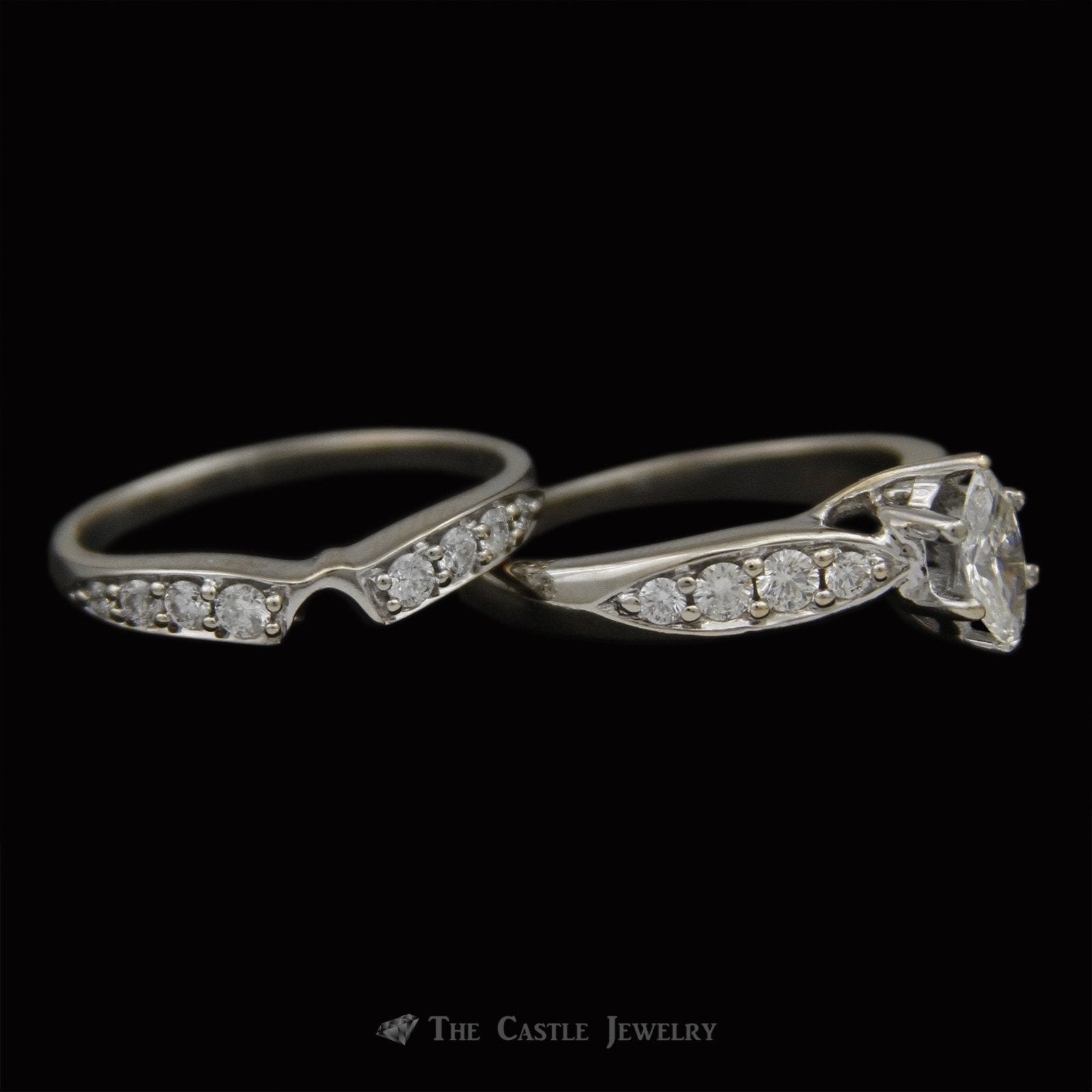 Marquise Diamond Bridal Set with Round Diamond Sides & Fitted Band Crafted in 18K White Gold-2