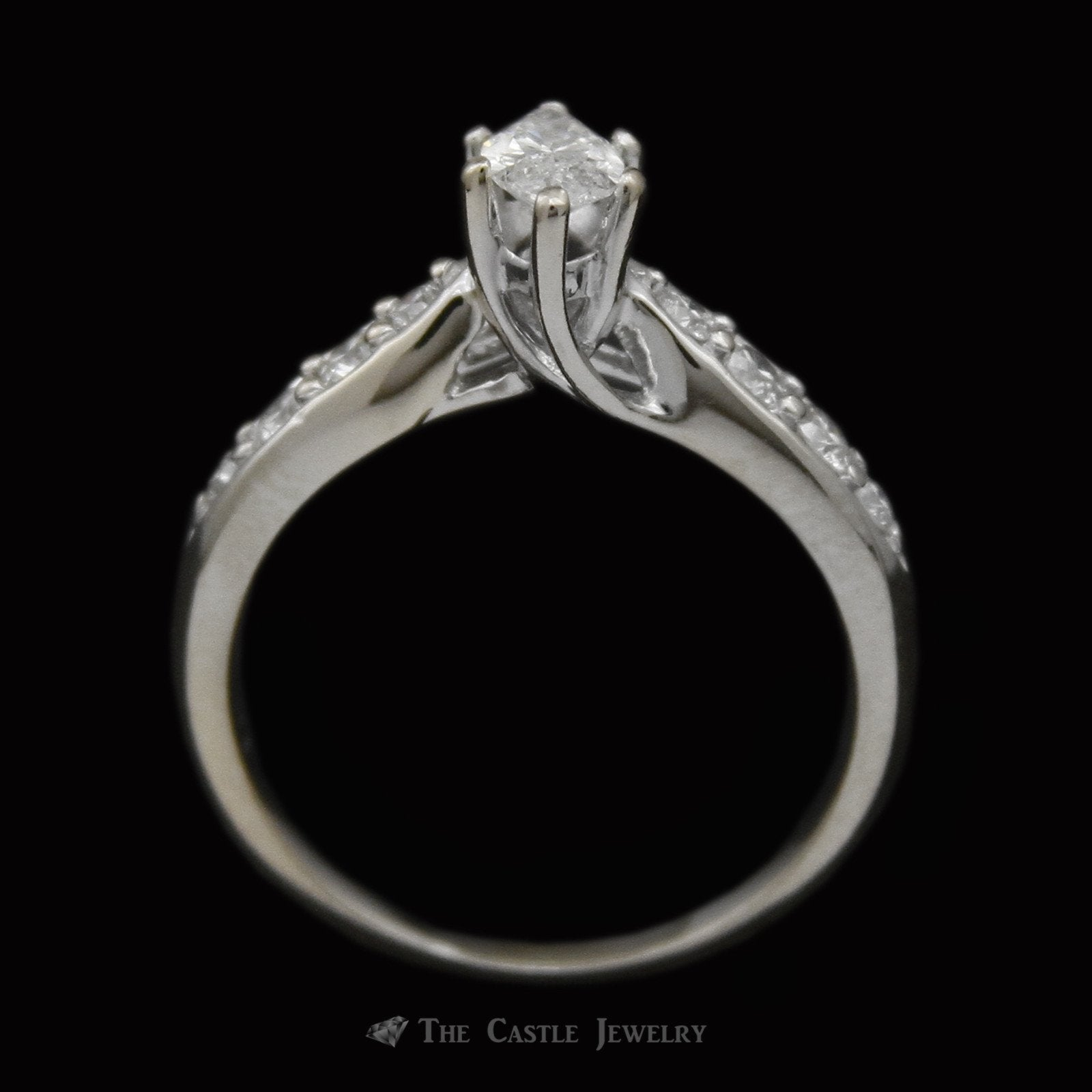 Marquise Diamond Bridal Set with Round Diamond Sides & Fitted Band Crafted in 18K White Gold-1