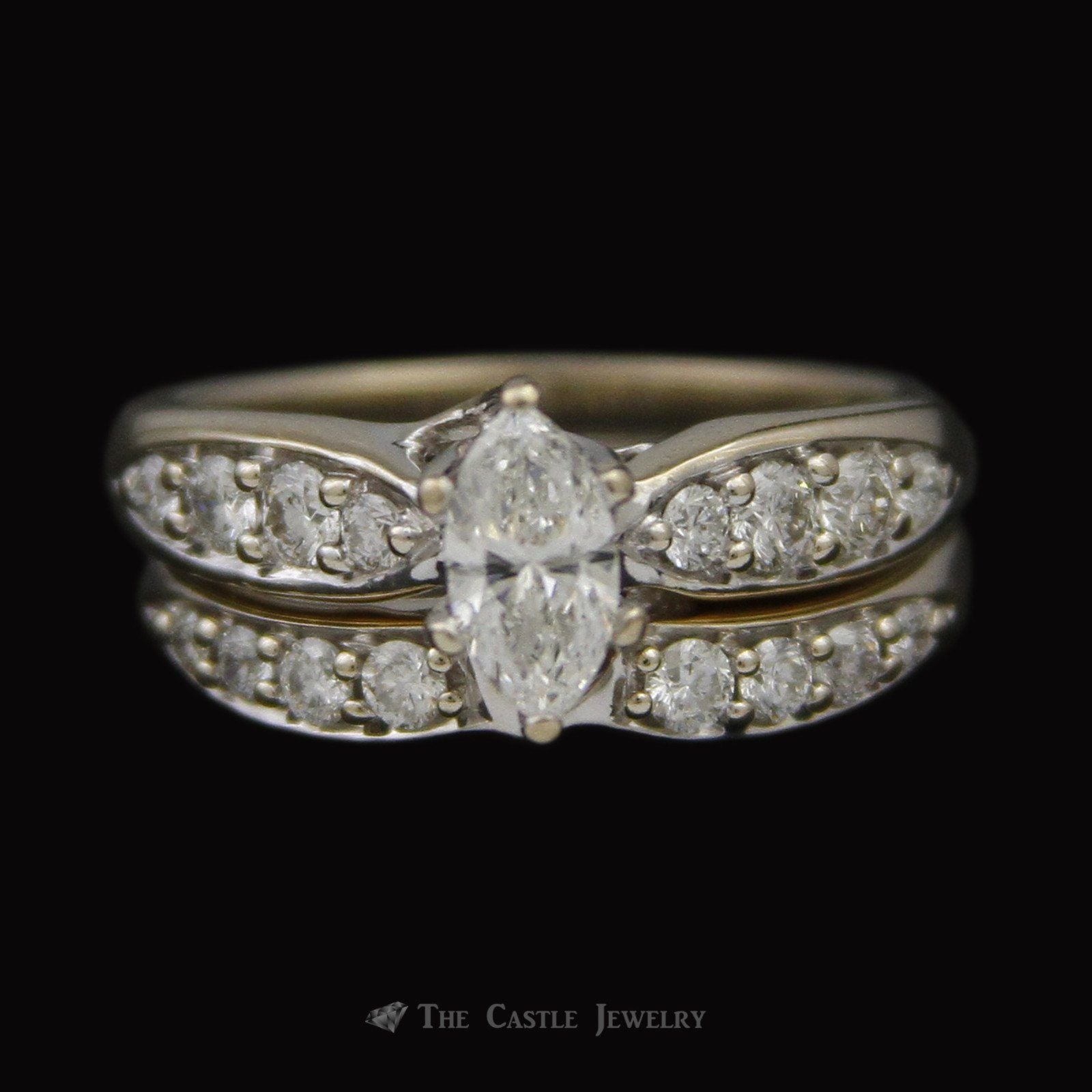 Marquise Diamond Bridal Set with Round Diamond Sides & Fitted Band Crafted in 18K White Gold